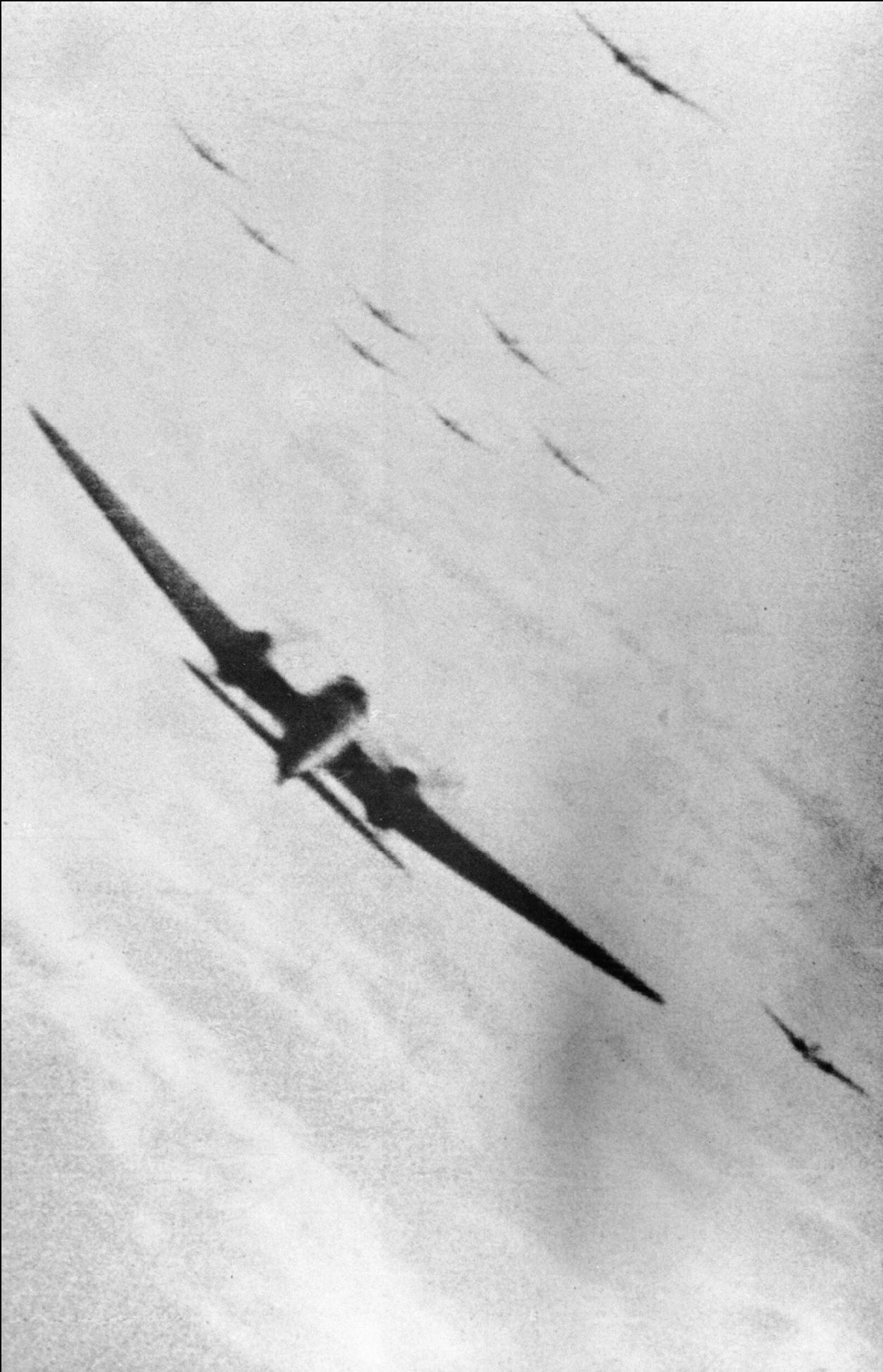 Gun camera footage from RAF 609Sqn Sqn Ldr Darley showing a KG55 He 111 being hit 1940 IWM CH1829