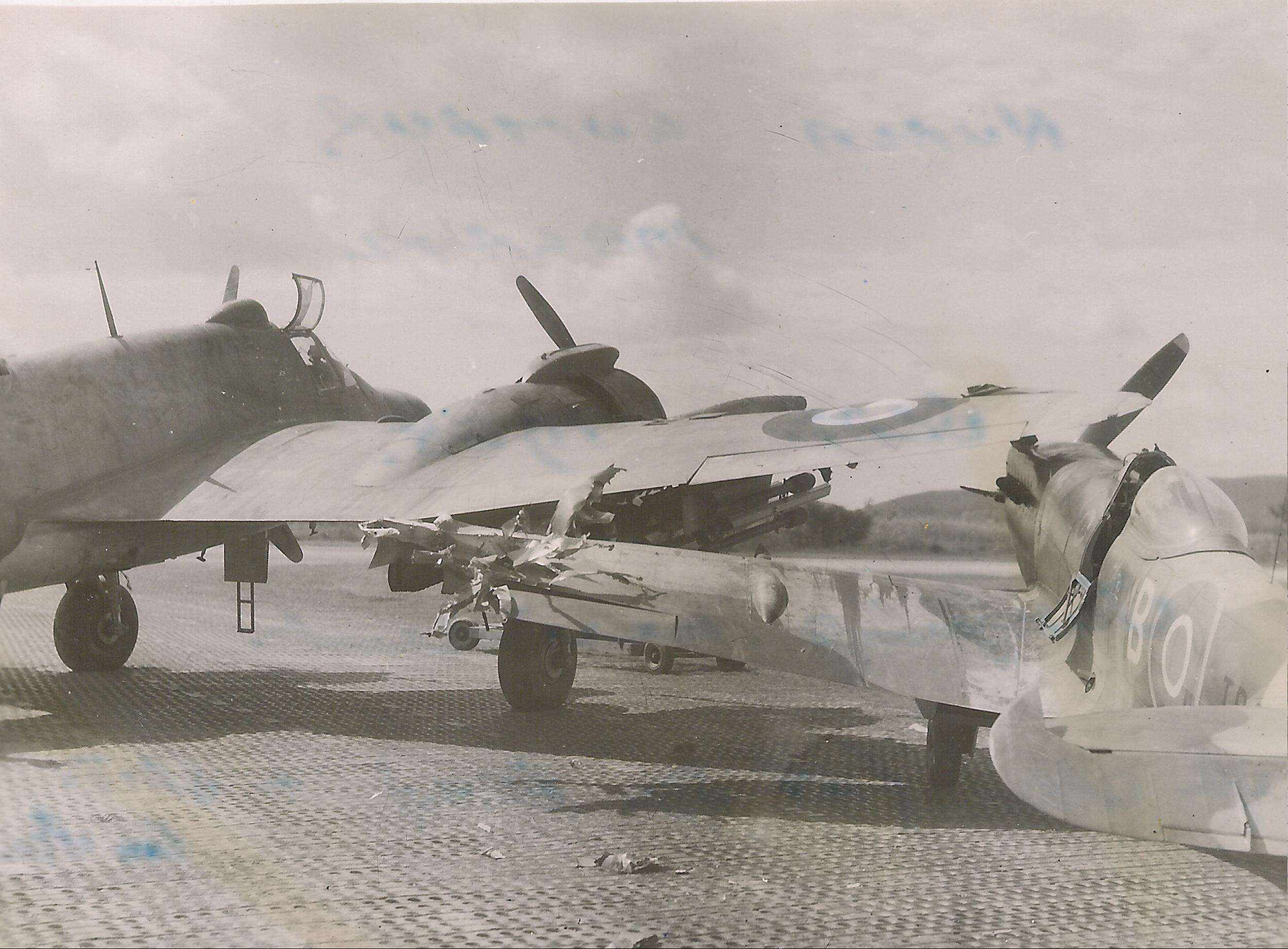 Spitfire XVIII RAF 60Sqn TP222 and Beaufighter RD863 prop strike accident 01