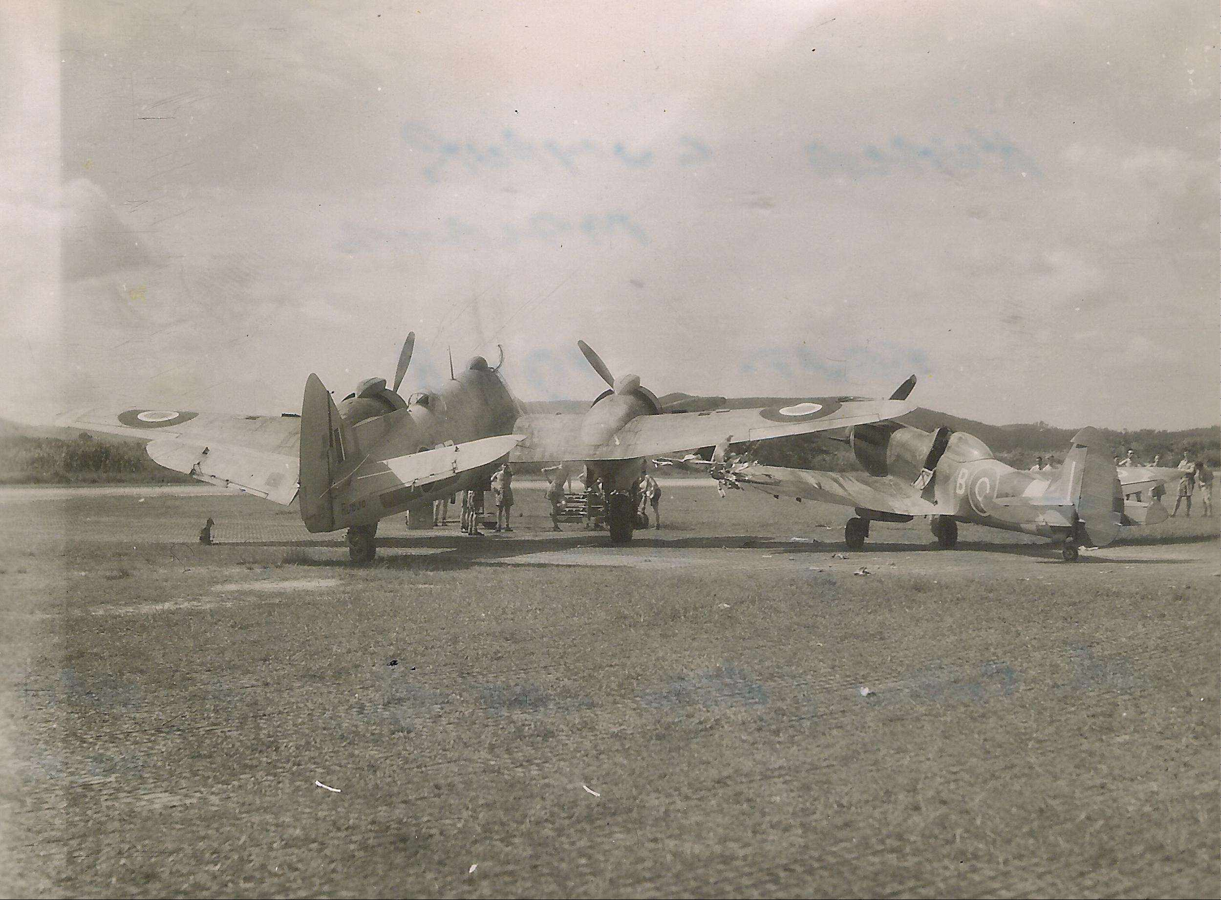 Spitfire XVIII RAF 60Sqn TP222 and Beaufighter RD863 prop strike accident 02