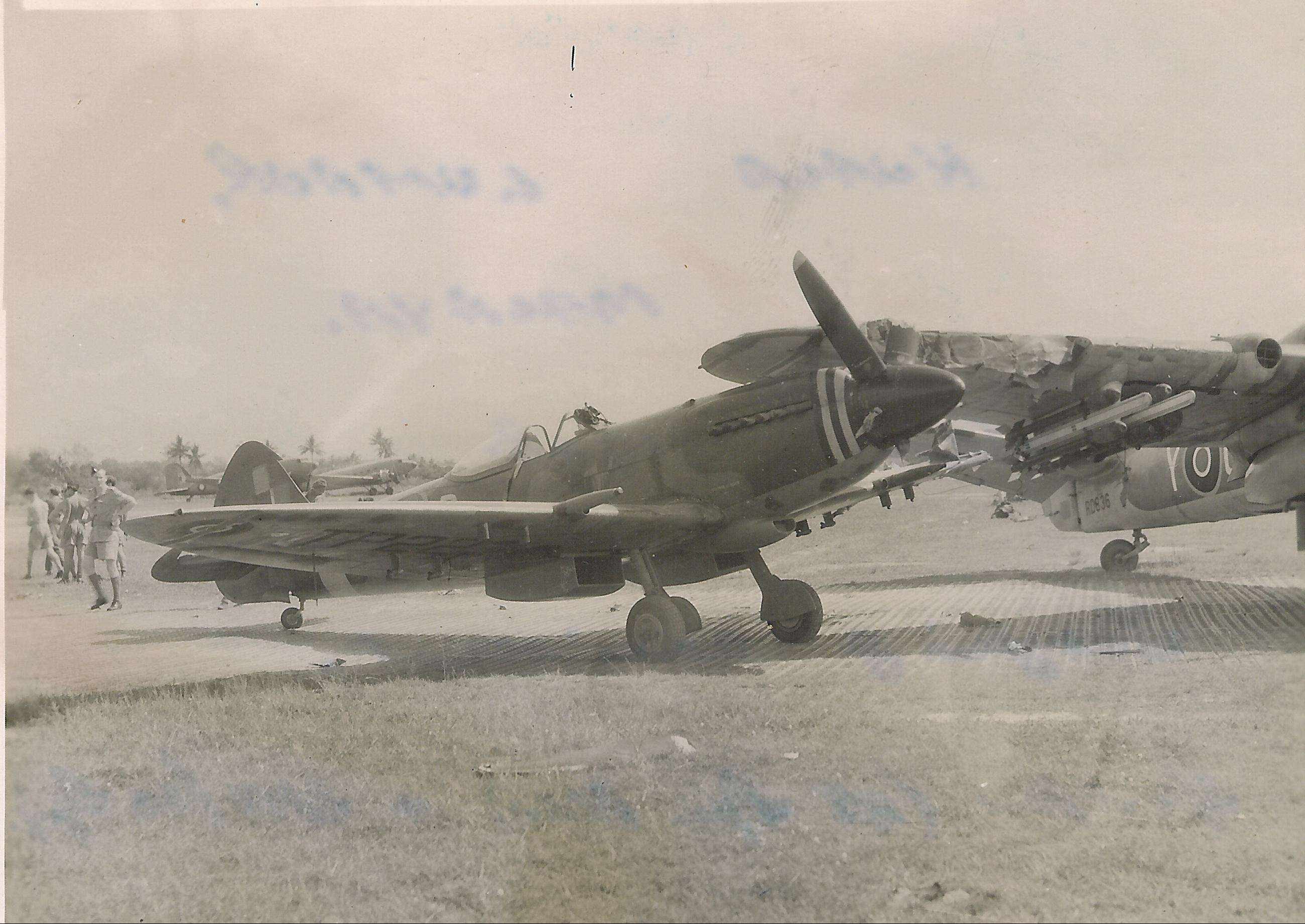Spitfire XVIII RAF 60Sqn TP222 and Beaufighter RD863 prop strike accident 04
