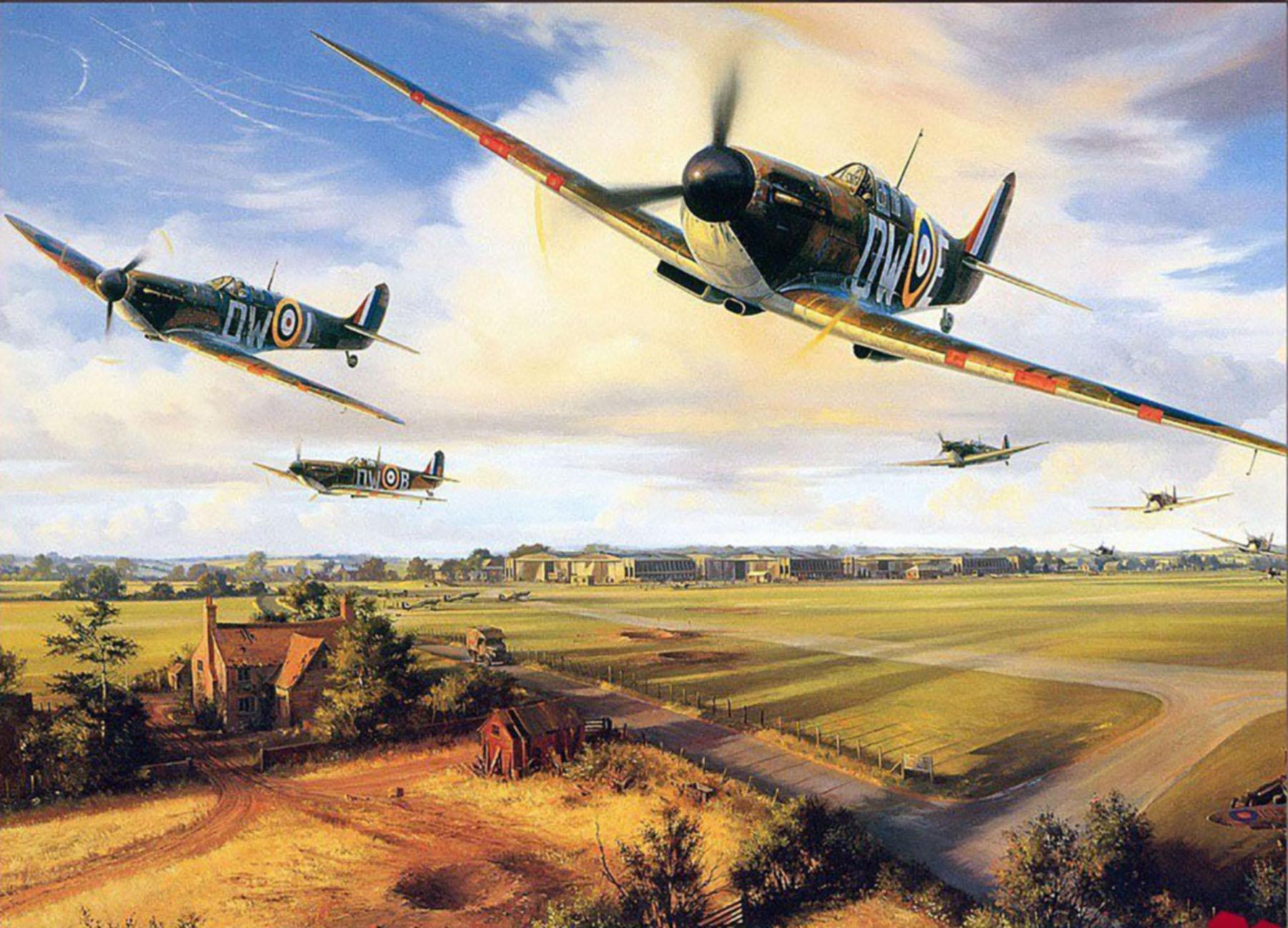 Spitfire MkI RAF 610Sqn DWE during Battle of Britain 1940 painting 0A
