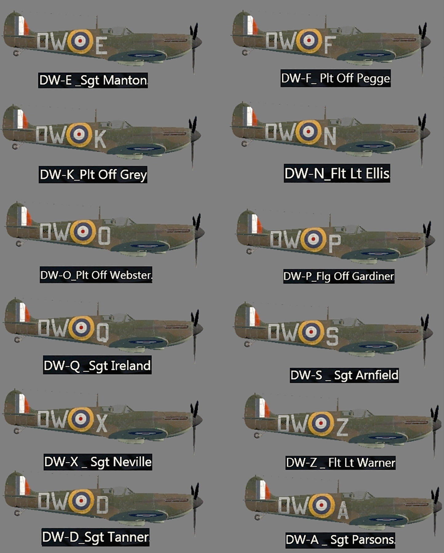 Spitfire MkIa RAF 610 Squadron Battle of Britain pilots and assigned aircraft 0A