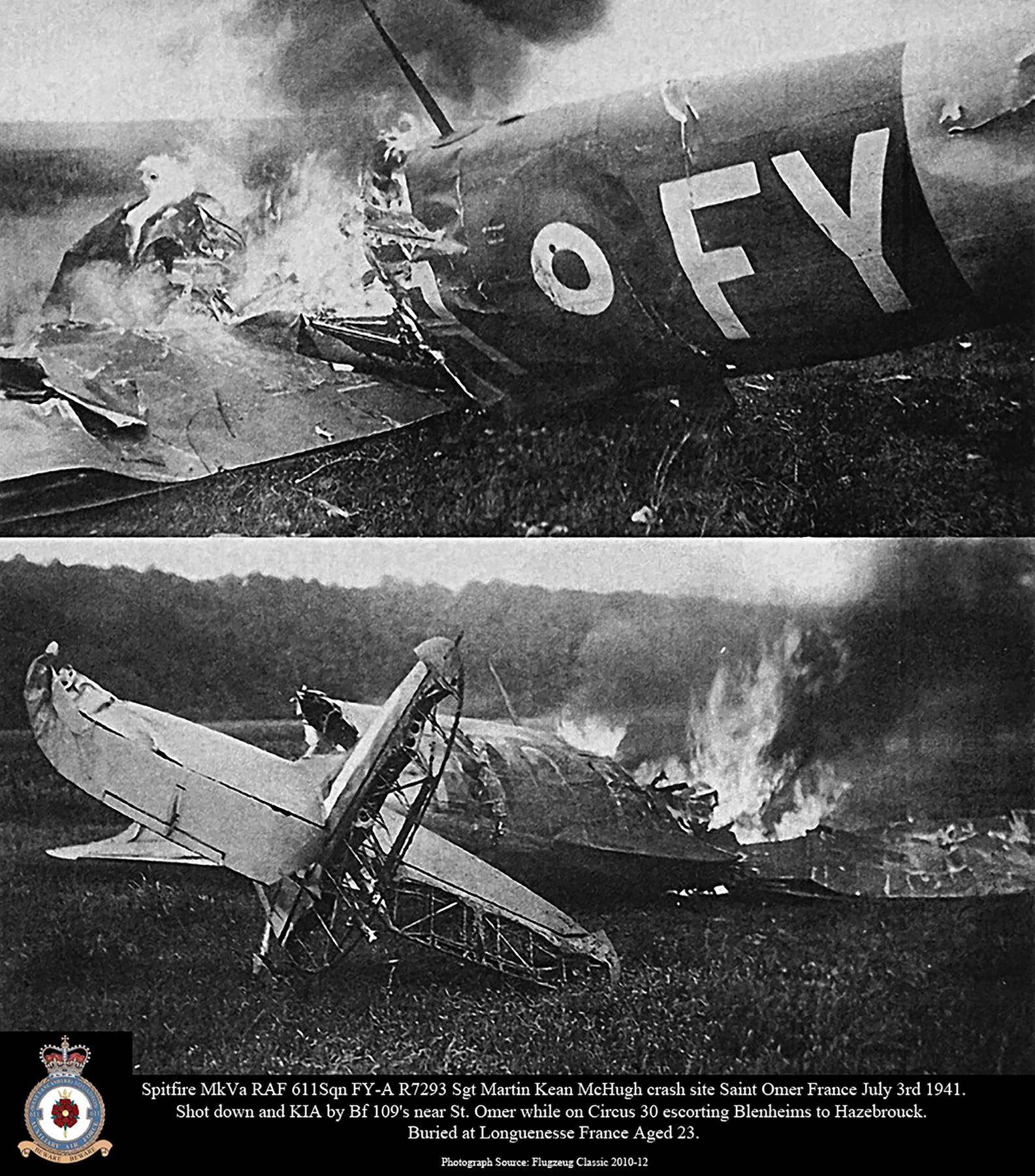 Spitfire MkVa RAF 611Sqn FYA R7293 Sgt Martin Kean McHugh crash site St Omer France July 3rd 1941