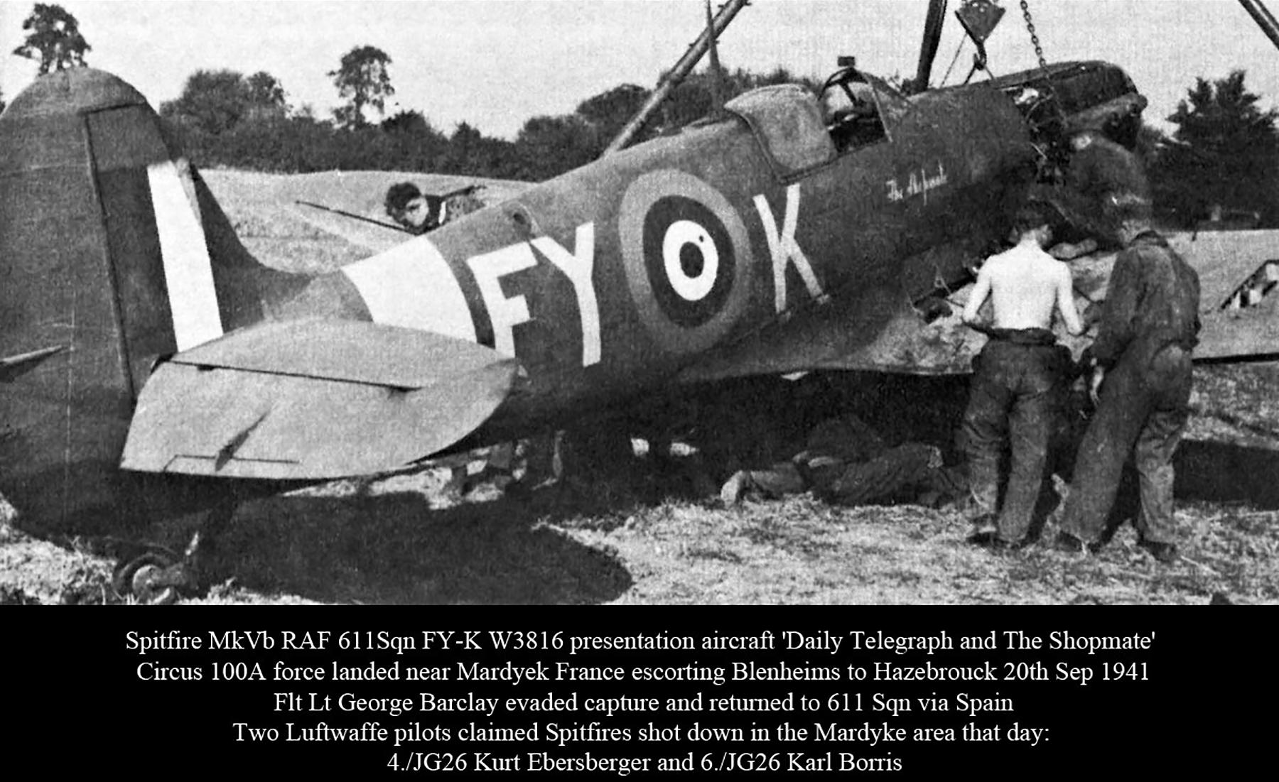 Spitfire MkVb RAF 611Sqn FYK George Barclay W3816 force landed nr Mardyek France 20th Sep 1941