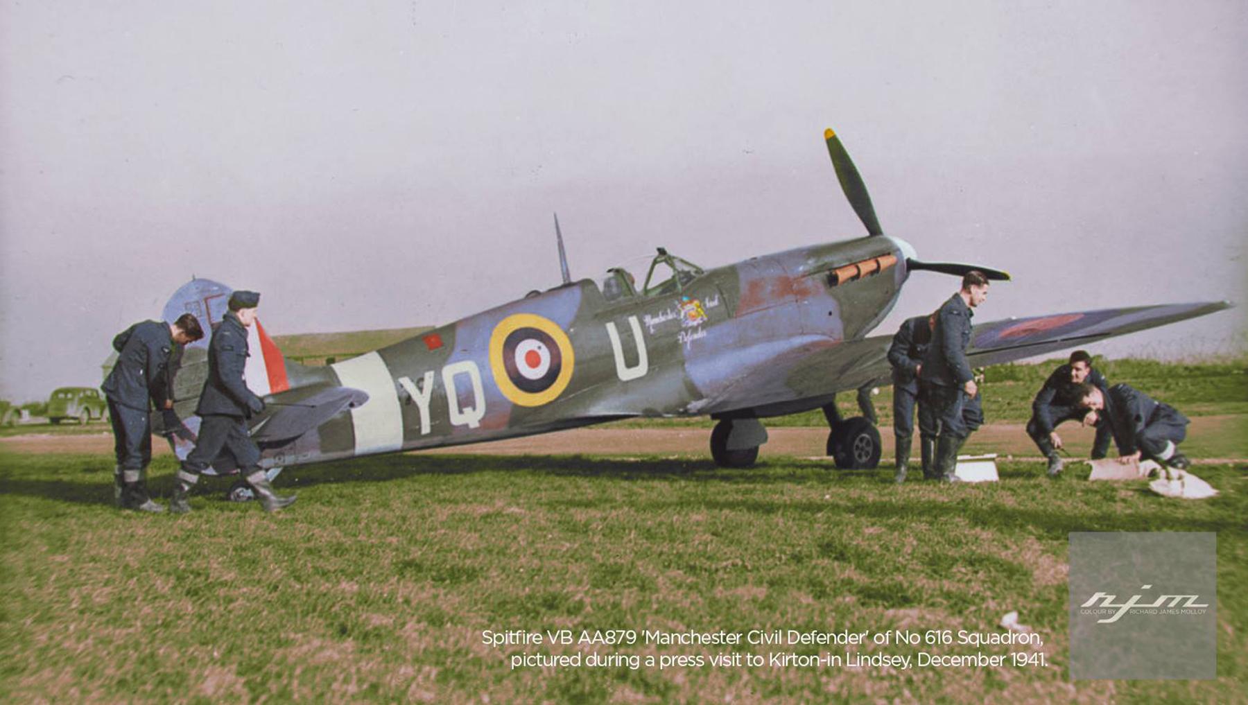 Spitfire Vb RAF 616Sqn AA879 Manchester Civil Defender Kirton in Lindsey Dec 1941 IWM HU66616