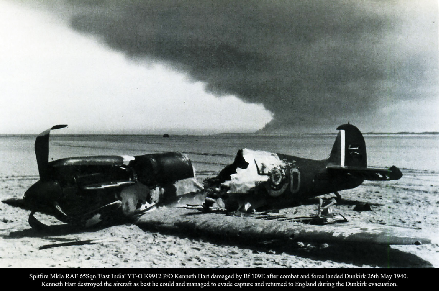 Spitfire MkIa RAF 65Sqn YTO K9912 Kenneth Hart shot down by Bf 109 Dunkirk 26th May 1940