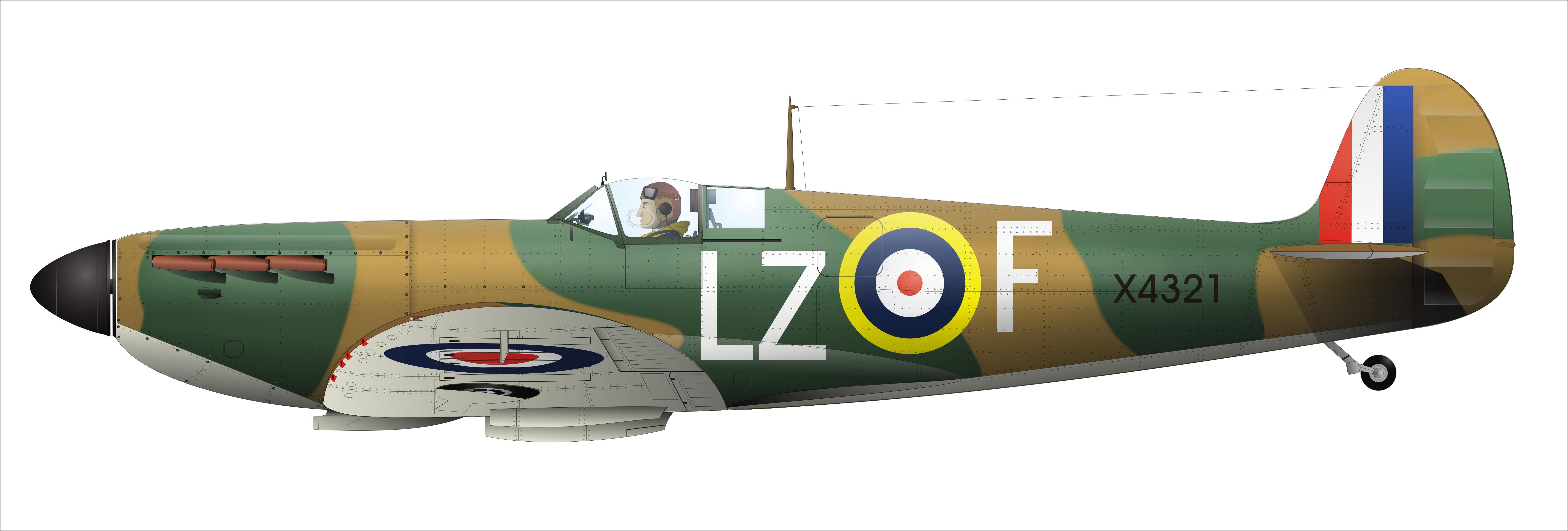 Artwork Wiki Spitfire MkIa RAF 66Sqn LZ F PO Crelin Bodie X4321 Kenley 1940 0A