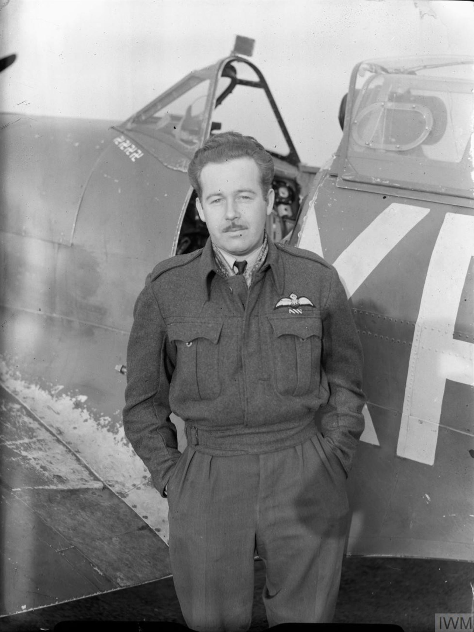 Aircrew RAF 71Sqn USAAF Pilot Officer CW Red McColpin at North Weald Essex IWM CH3923