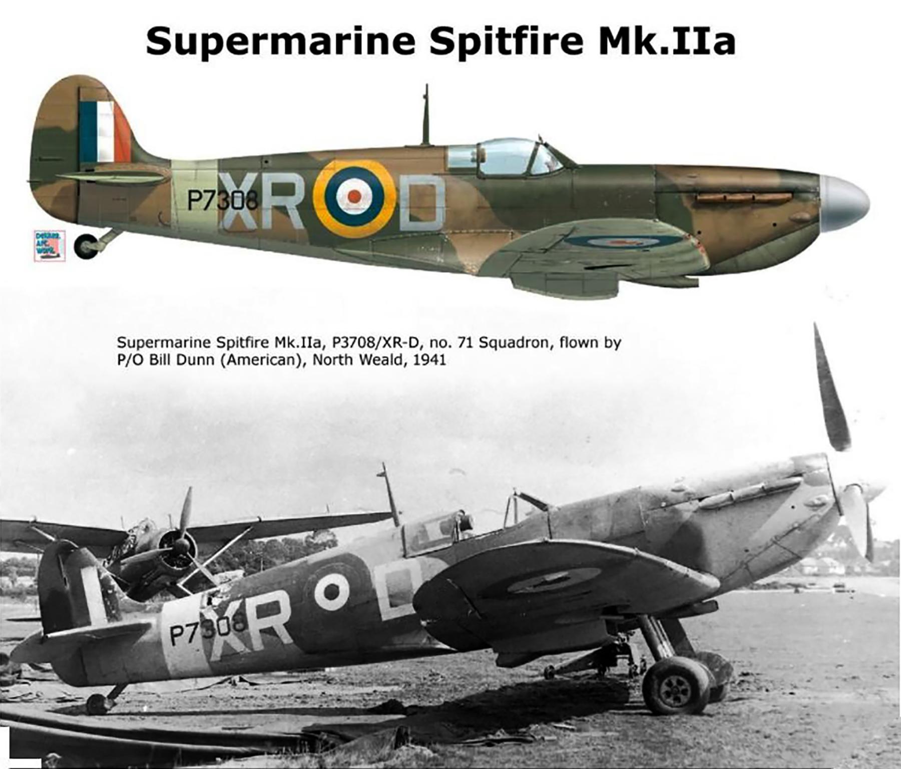 Spitfire MkIIa RAF 71Sqn XRD Bill Dunn P3708 North Weald 1941 0A