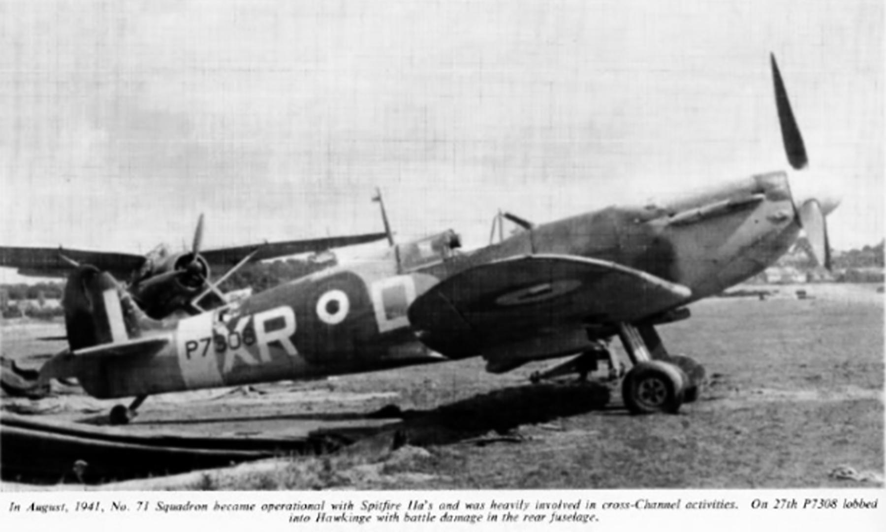 Spitfire MkVb RAF 71Sqn XRD Bill Dunn P7308 North Weald 1941 02