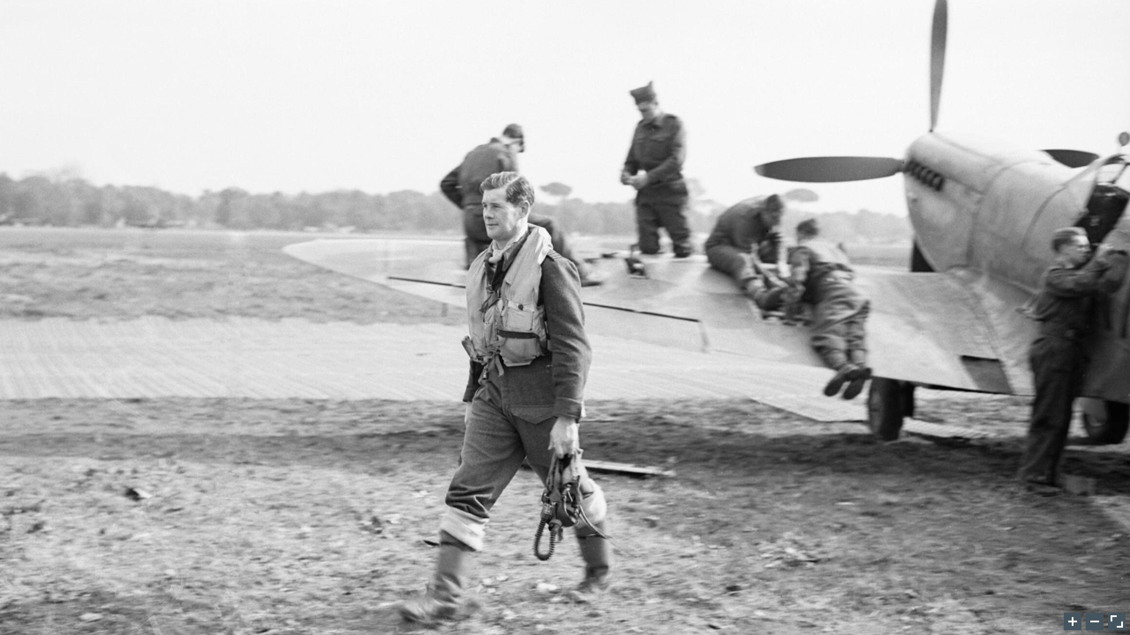 Aircrew RAF 72Sqn Flt Lt GJ Cox at Lago landing ground near Castel Volturno IWM CNA2438a