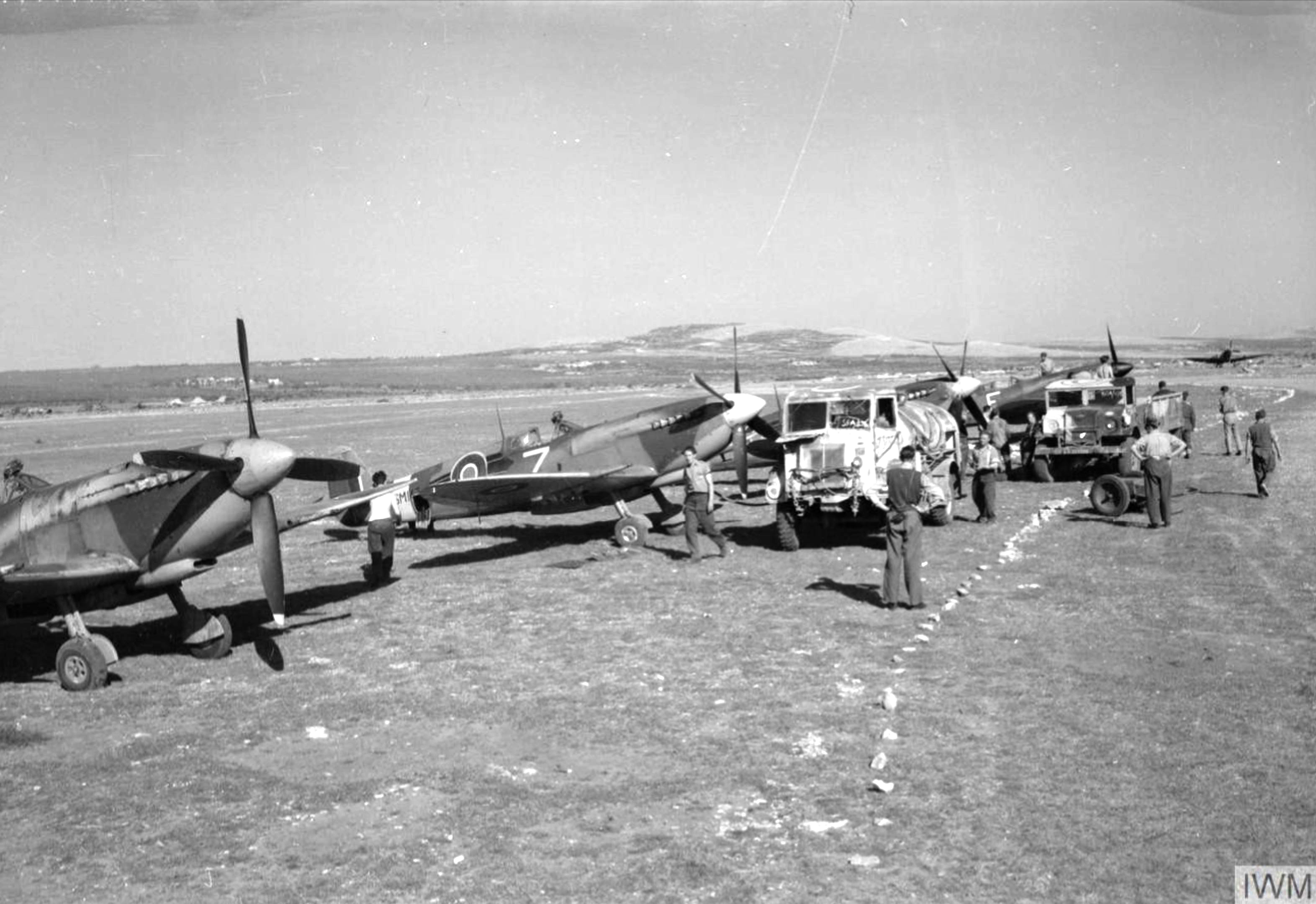 Spitfire MkIXs RAF 73Sqn at Prkos near Zadar Yugoslavia 22nd April 1945 IWM CNA3527