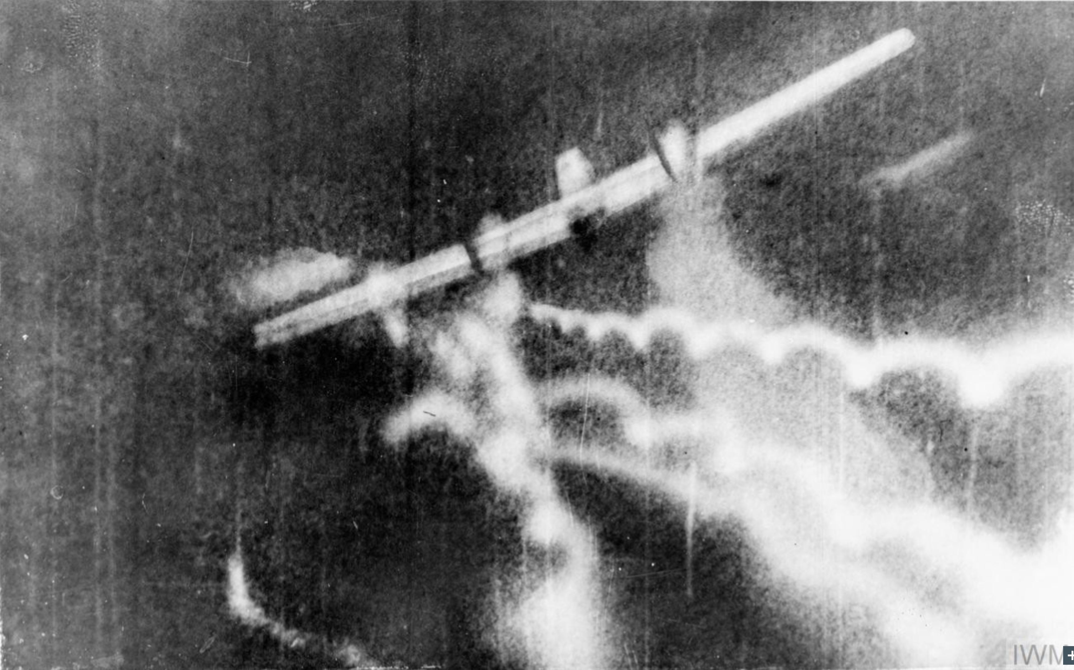 Gun camera film RAF 74Sqn PWF Treacy hitting a Messerschmitt Bf 110 near Dunkirk IWM C1703