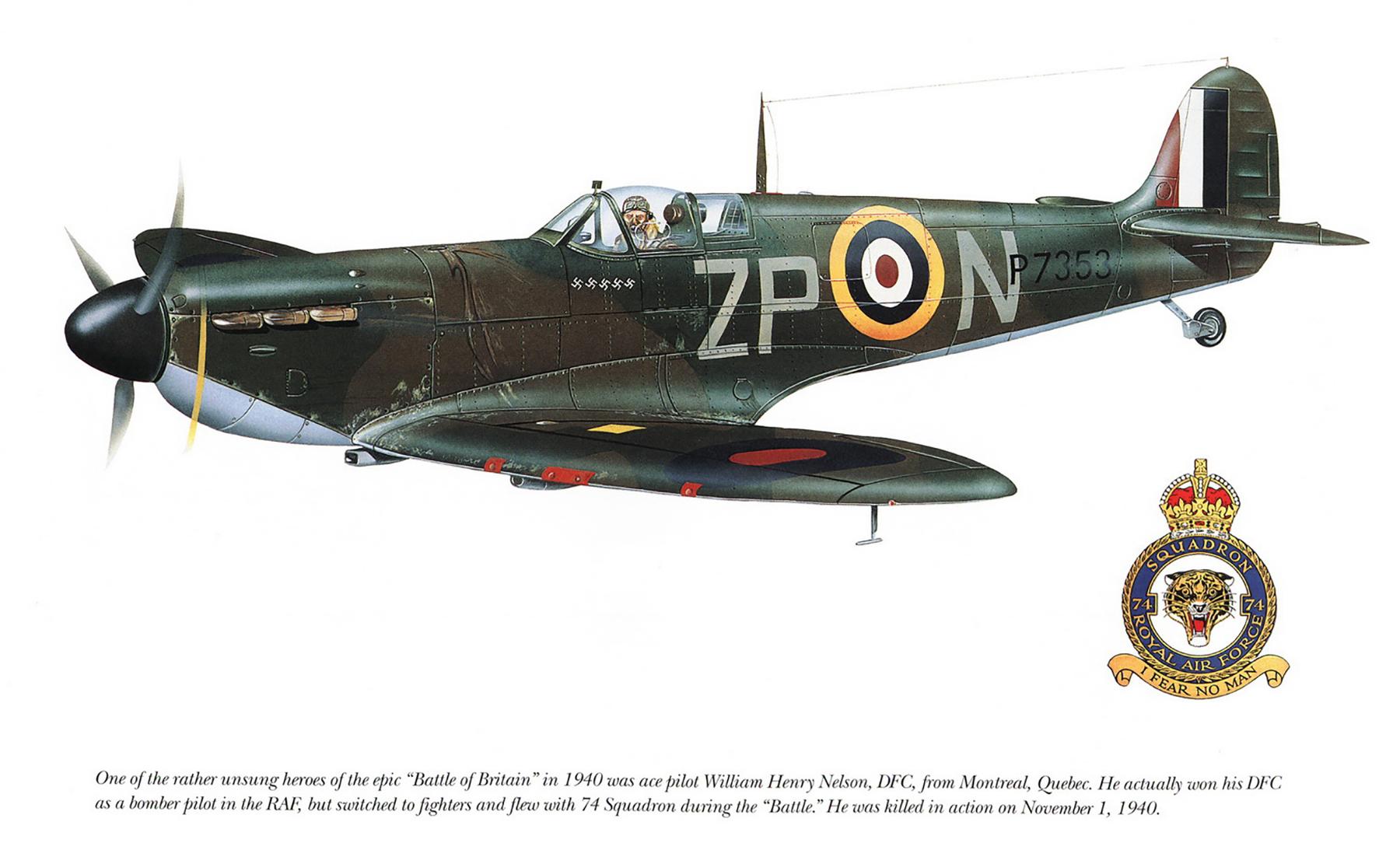 Spitfire MkIIa RAF 74Sqn ZPN William Harry Nelson P7353 Oct 1940 0A