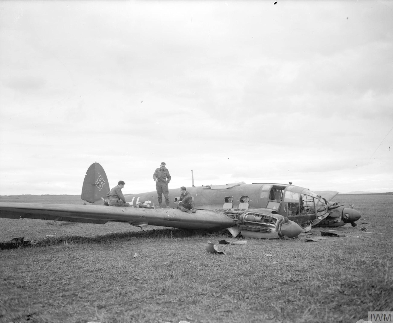 Heinkel He IIIH shot down by RAF 81Sqn near Bone Algeria 15th Nov 1942 IWM CNA73