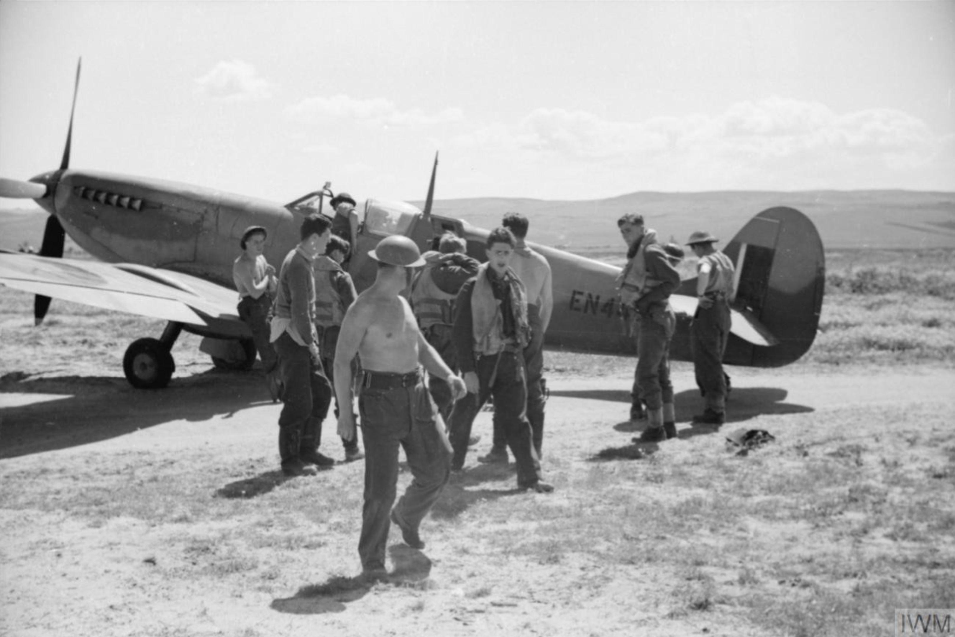 Spitfire MkIX RAF 81Sqn EN445 with Sqn Ldr CF Gray at Souk el Khemis Tunisia IWM CNA629