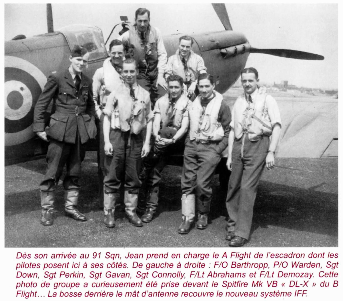 Aircrew RAF 91Sqn Jean Demozay and pilots next to Spitfire Vb DL X 01