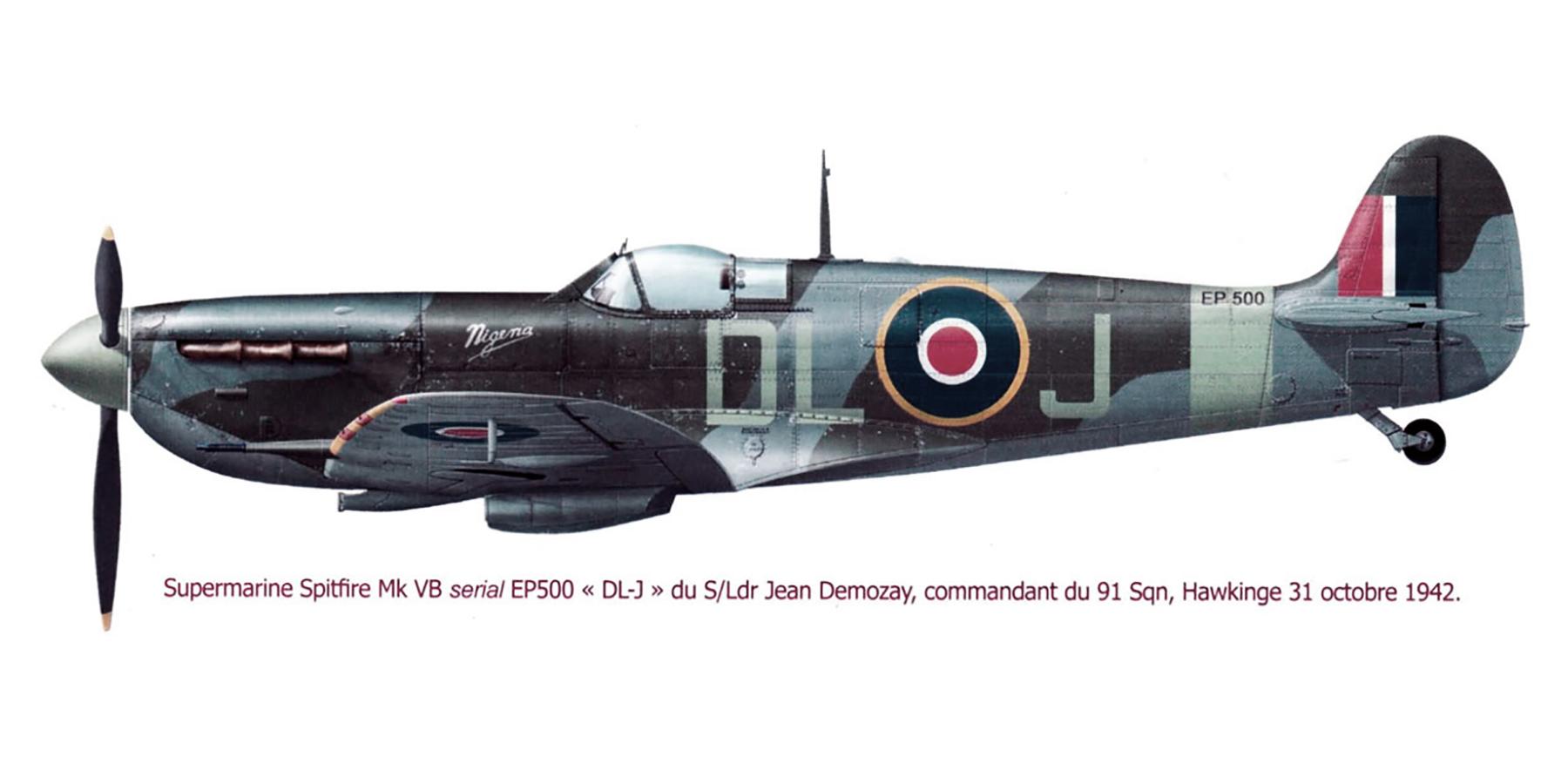 Spitfire MkVb RAF 91Sqn DLJ Jean Demozay EP500 Hawkinge 31st Oct 1942 0A
