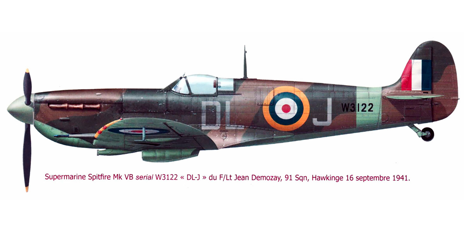 Spitfire MkVb RAF 91Sqn DLJ Jean Demozay W3122 Hawkinge 16th Sep 1941 0A