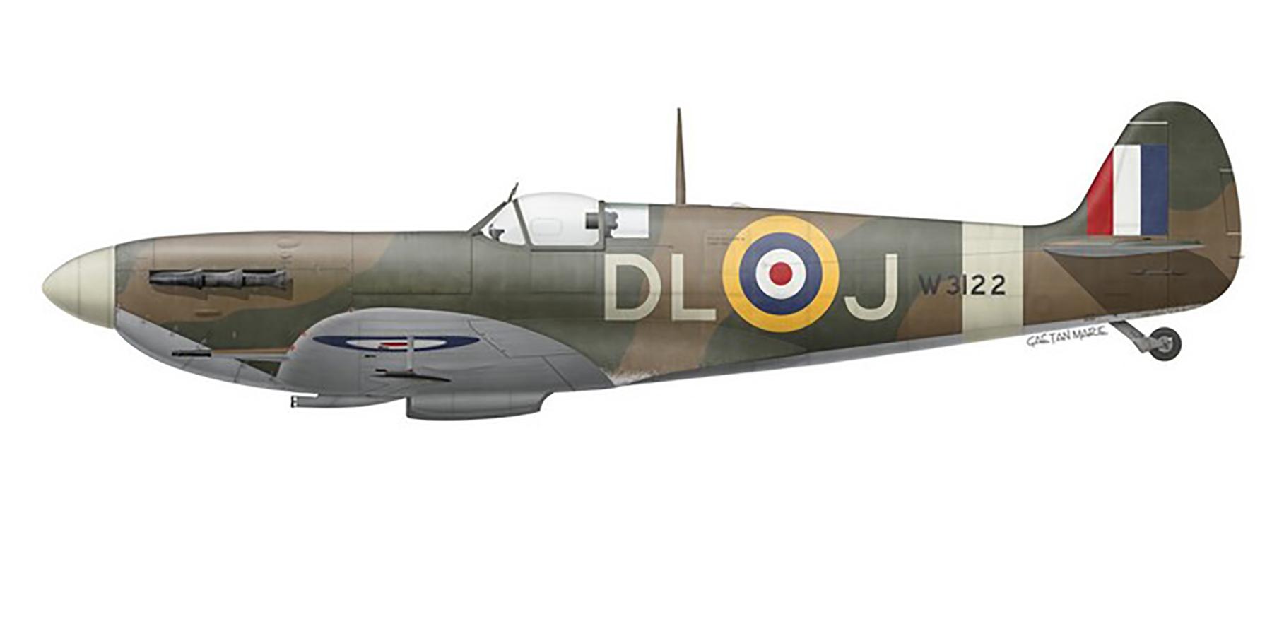 Spitfire MkVb RAF 91Sqn DLJ Jean Demozay W3122 Hawkinge 16th Sep 1941 0B