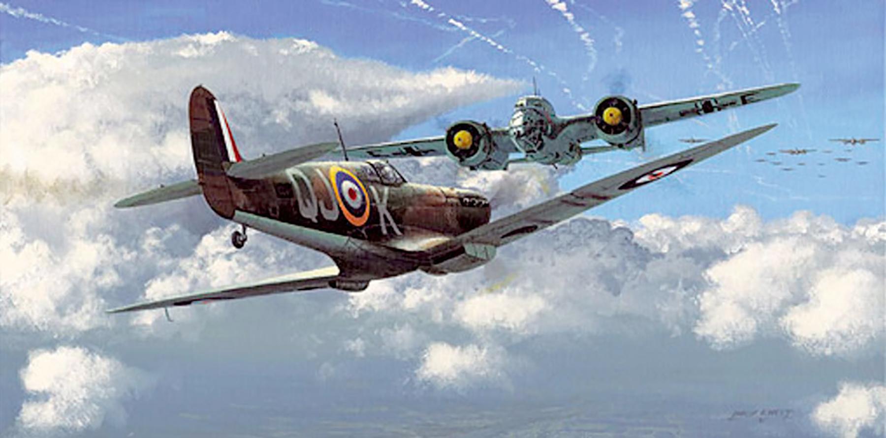 Art painting Spitfire MkII RAF 92Sqn QJ K Geoffrey Wellum P7350 Pembrey 1940 0A