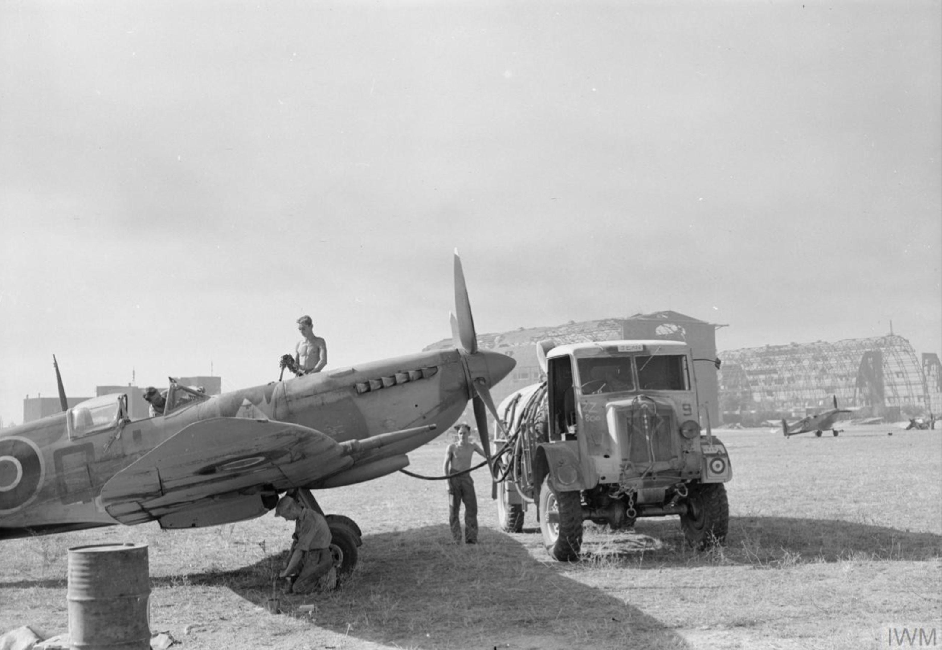 Spitfire HFVIII RAF 92Sqn undergoing routine maintenance at Grottaglie Italy IWM CNA1470