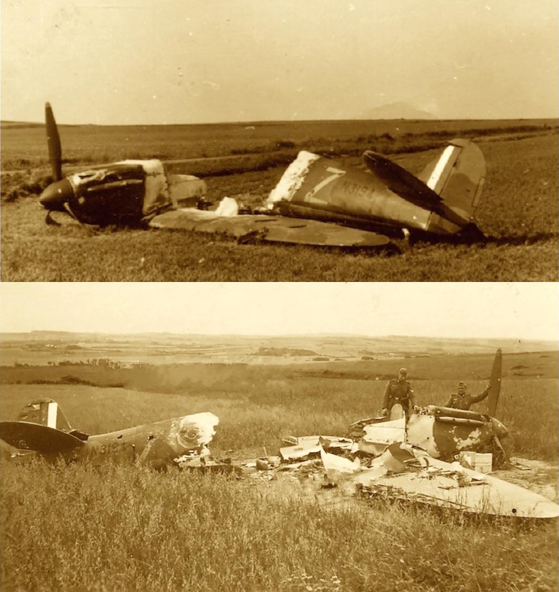 Spitfire MkIa RAF 92Sqn QJZ N3194 sd by Bf 109s near Calais 23rd May 1940 ebay2