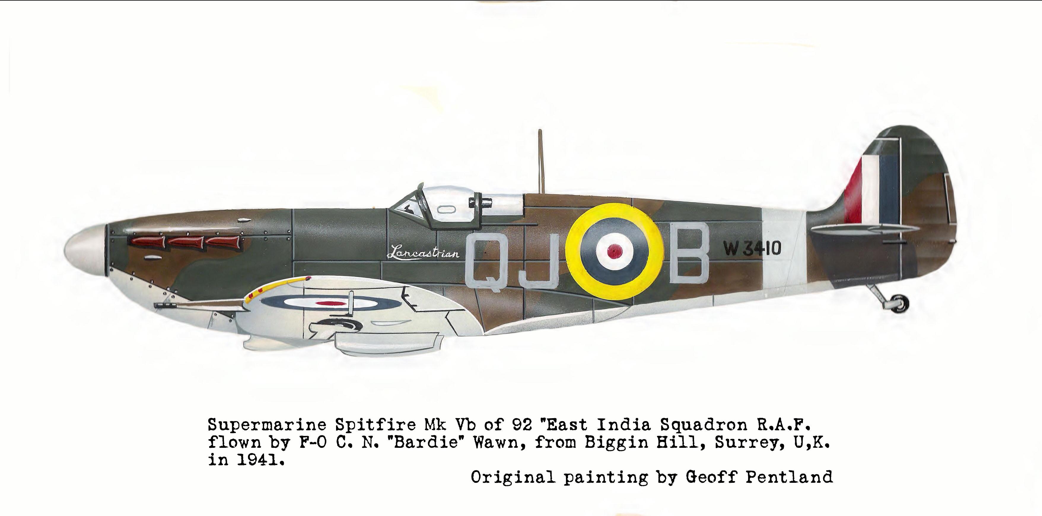 Spitfire MkVb RAF 92Sqn QJB Clive Wawn Lancastrian W3410 Biggin Hill 1940 0A