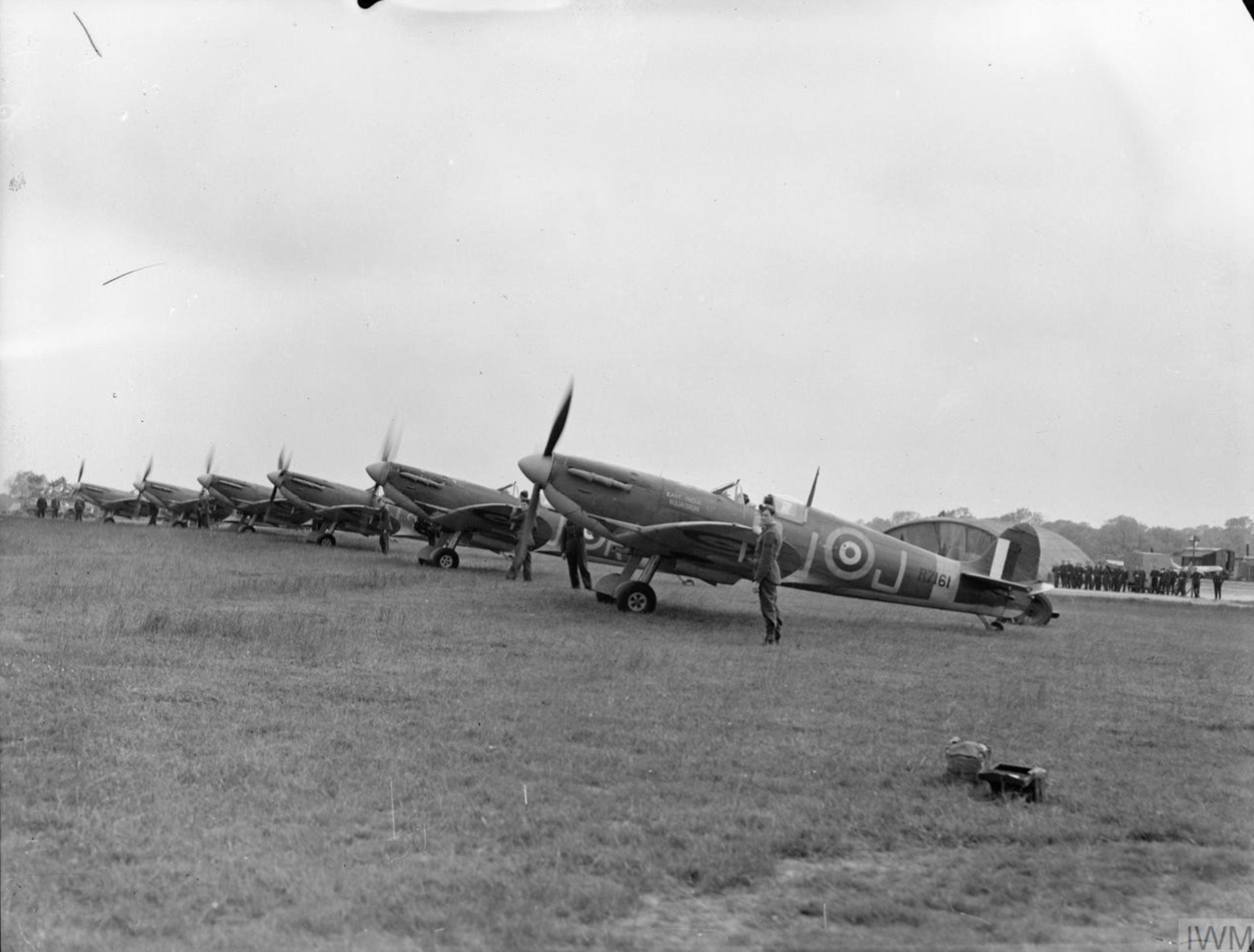 Spitfire MkVb RAF 92Sqn QJJ R7161 at Biggin Hill Kent IWM CH3549