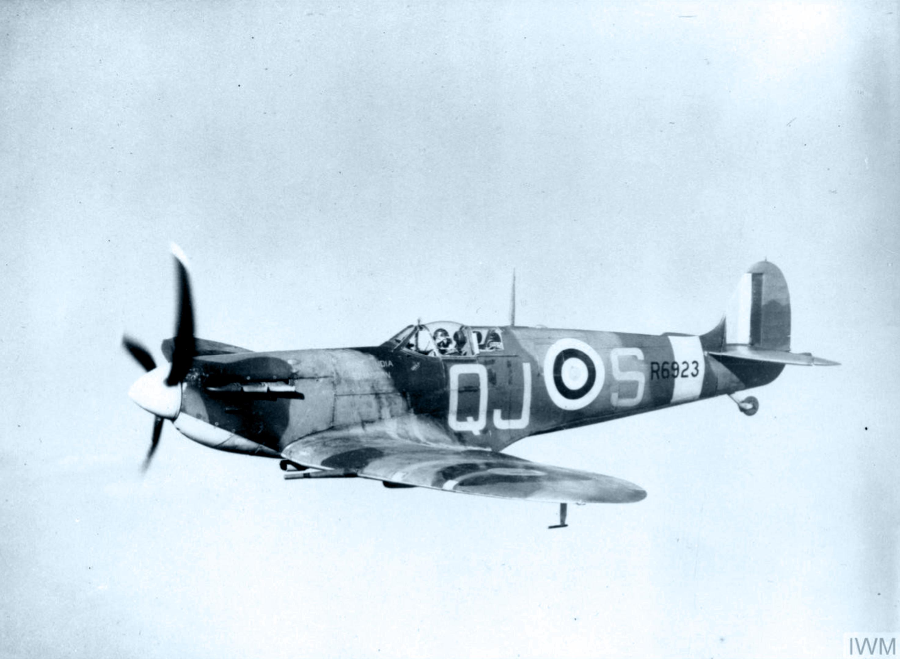 Spitfire Vb RAF 92Sqn QJS R6923 Alan Wright based at Biggin Hill Kent in flight IWM CH2930