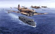 Asisbiz Art painting Spitfire MkVb Trop RAF 92Sqn Geoffrey Wellum EP465 HMS Furious 1942 0A