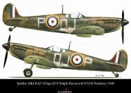 Asisbiz Spitfire MkIa RAF 92Sqn QJP Ralph Havercroft N3249 Pembrey 1940 0A