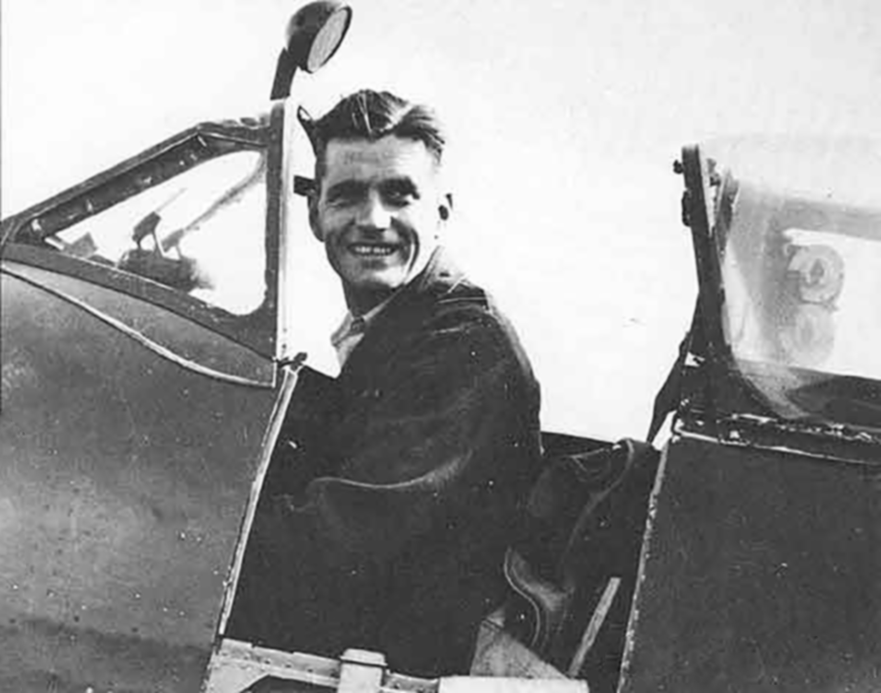 Aircrew RAF Ace JE Johnnie Johnson in his Spitfire JEJ 01