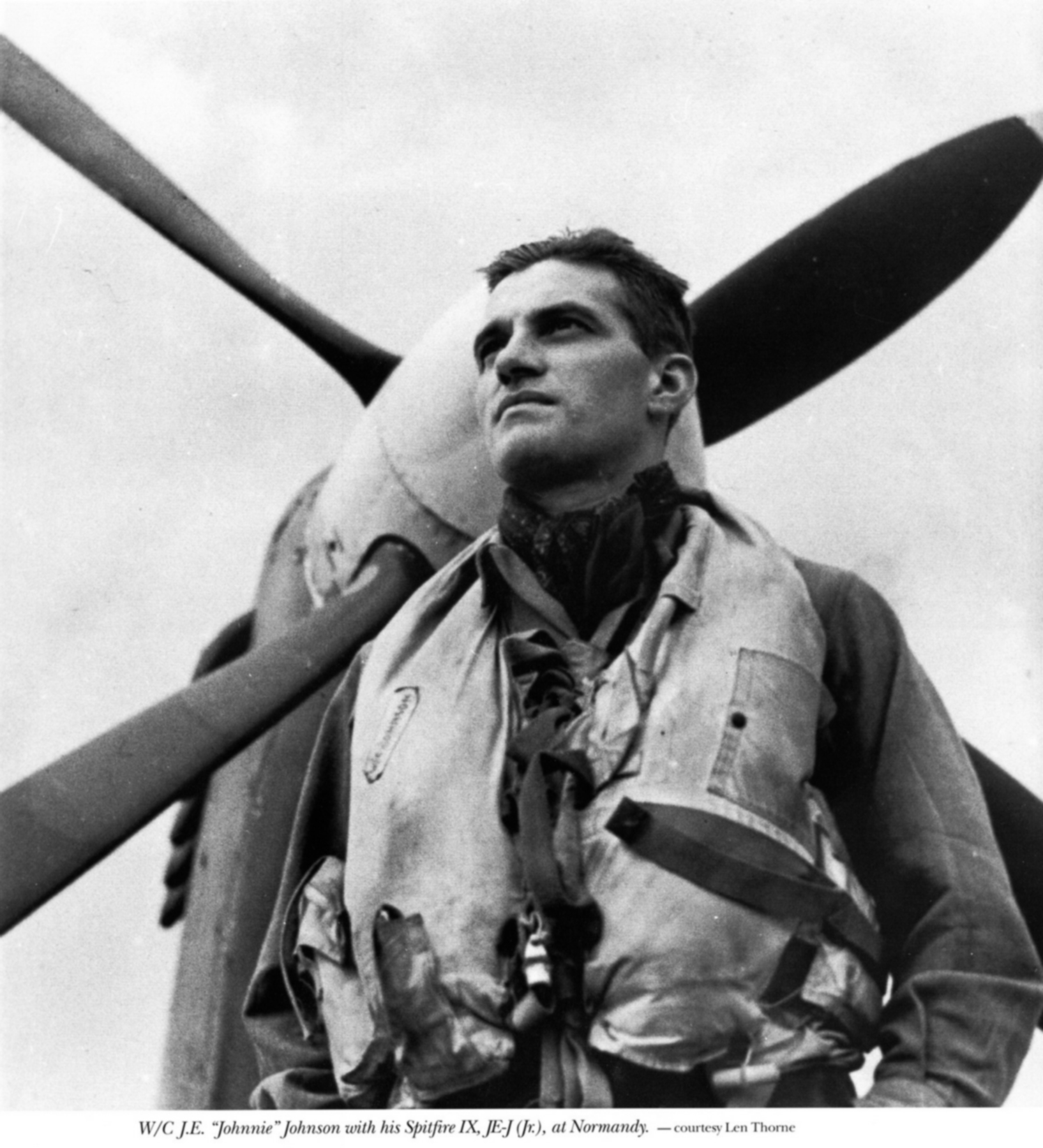 Aircrew RAF Ace Wg Cdr JE Johnnie Johnson DSO DFC with Spitfire MkIX JEJ Normandy 1944 01