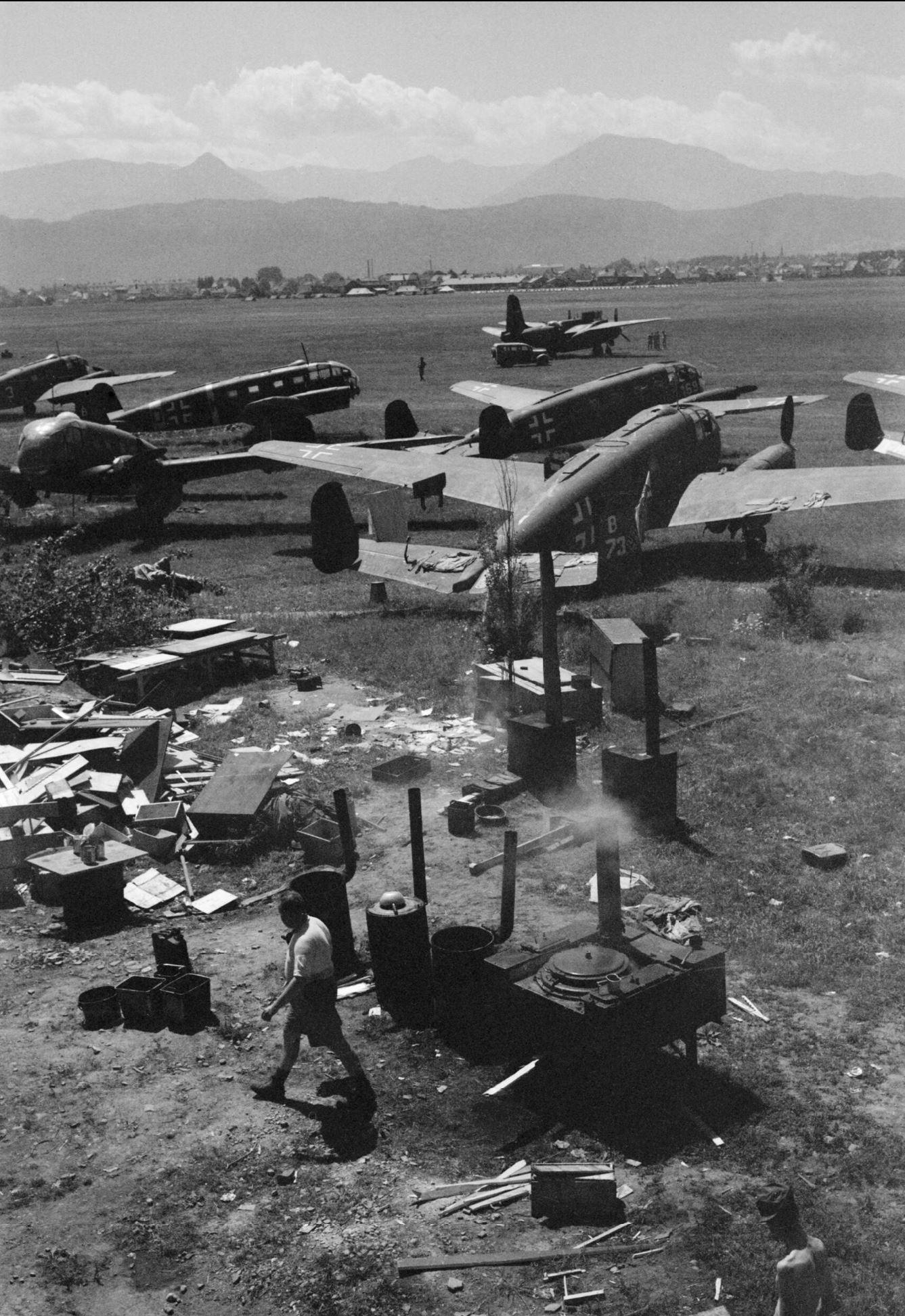 Luftwaffe Siebel Si 204 captured by RAF 232 Wing at Klagenfurt Austria IWM CNA3636