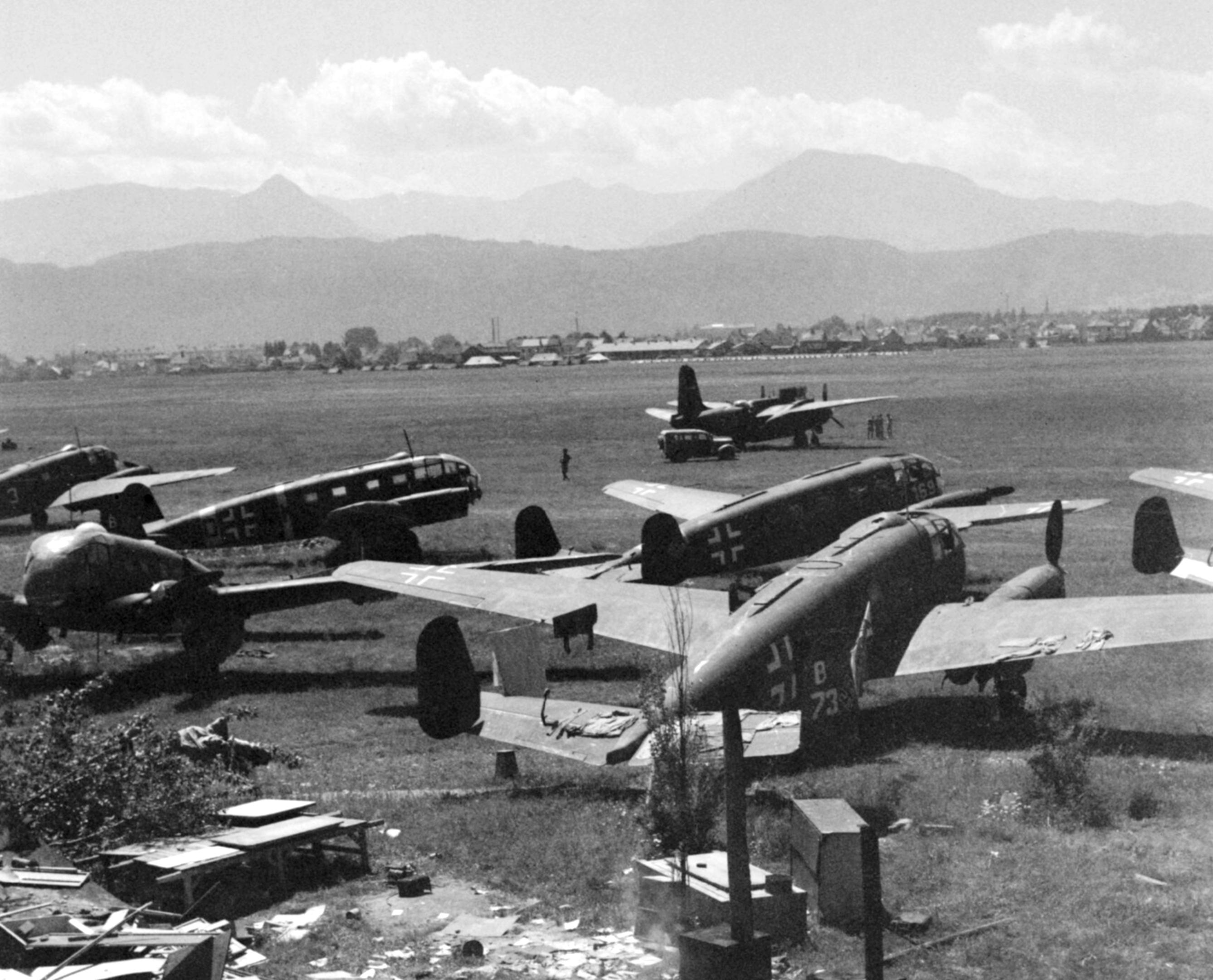 Luftwaffe Siebel Si 204 captured by RAF 232 Wing at Klagenfurt Austria IWM CNA3636a