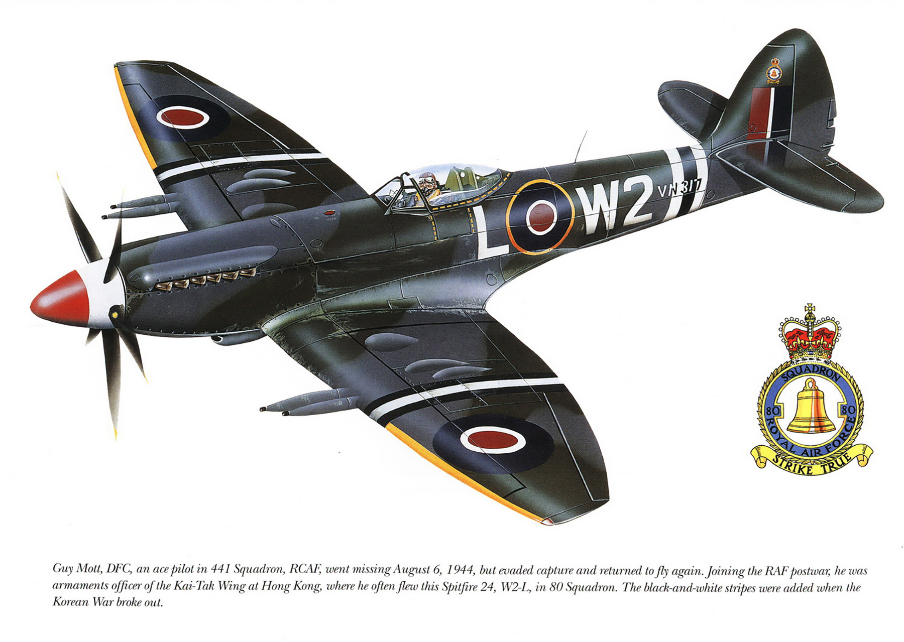 Spitfire F24 RAF 80Sqn W2P Guy Mott VN317 Kai Tak Wing Hong Kong 1947 0A