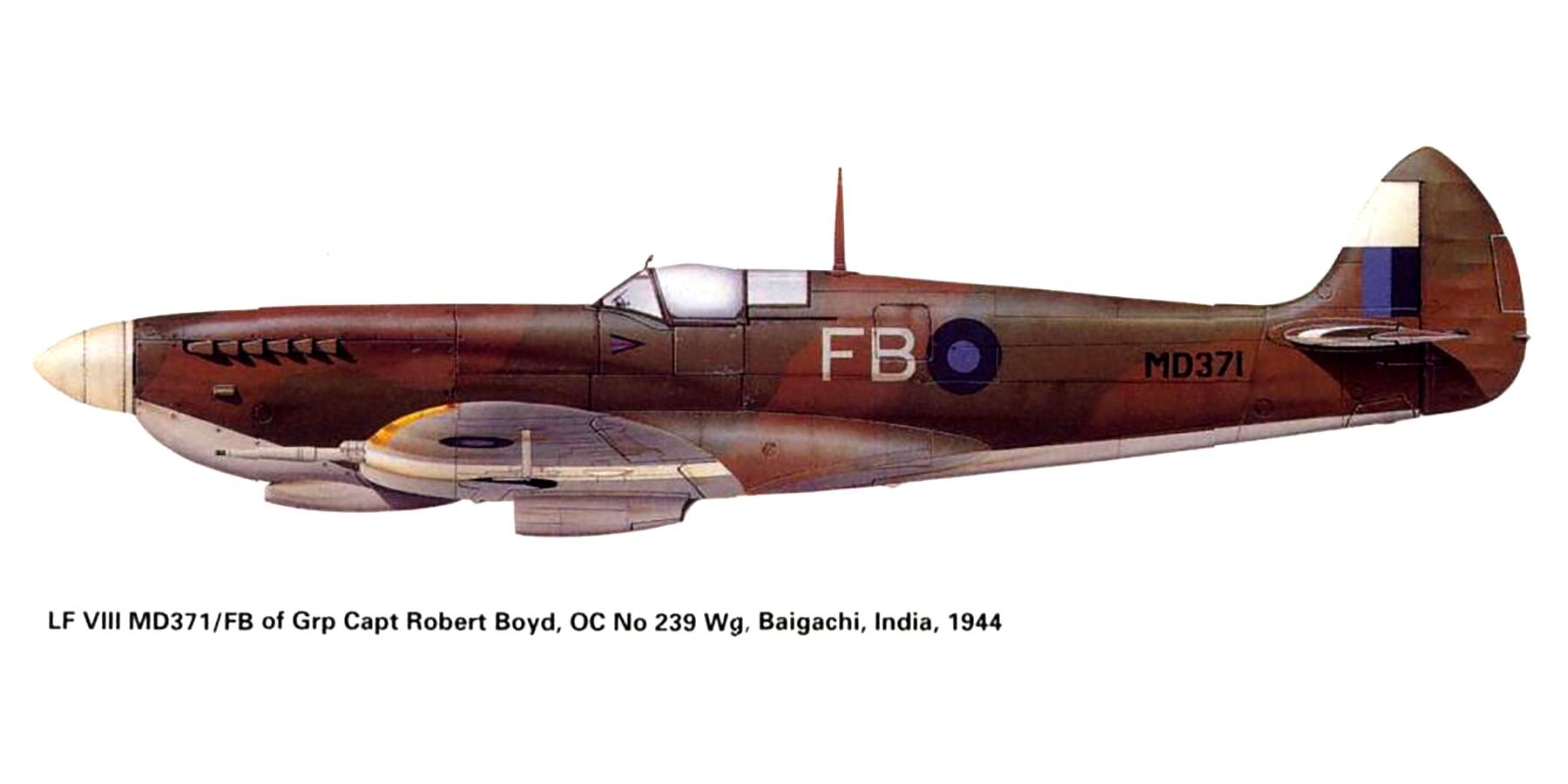 Spitfire LFVIII RAF 239FW FB Robert Boyd MD371 Baigachi India 1944 0A