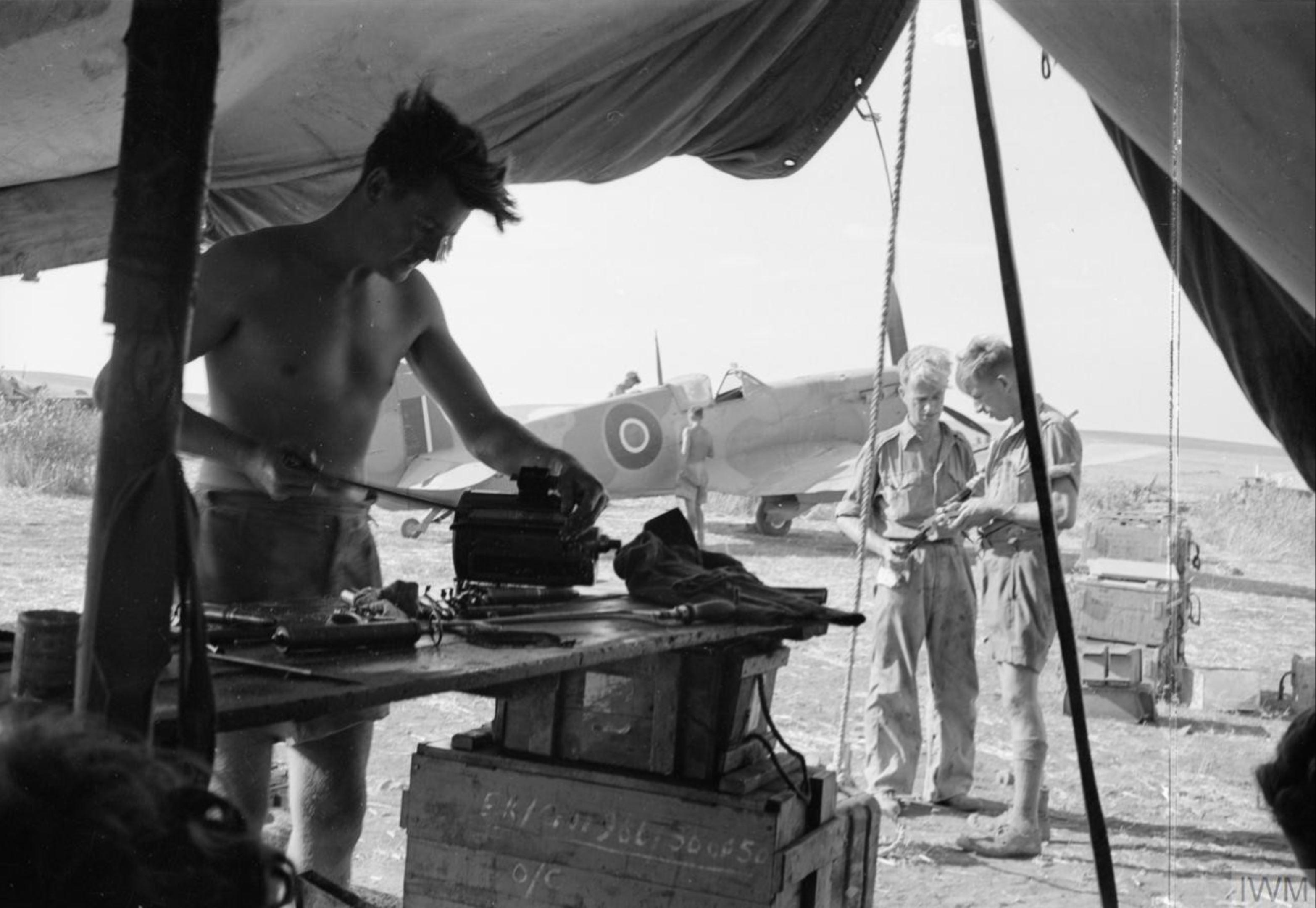 Spitfire RAF 244 Wing at Lentini Sicily IWM CNA1330
