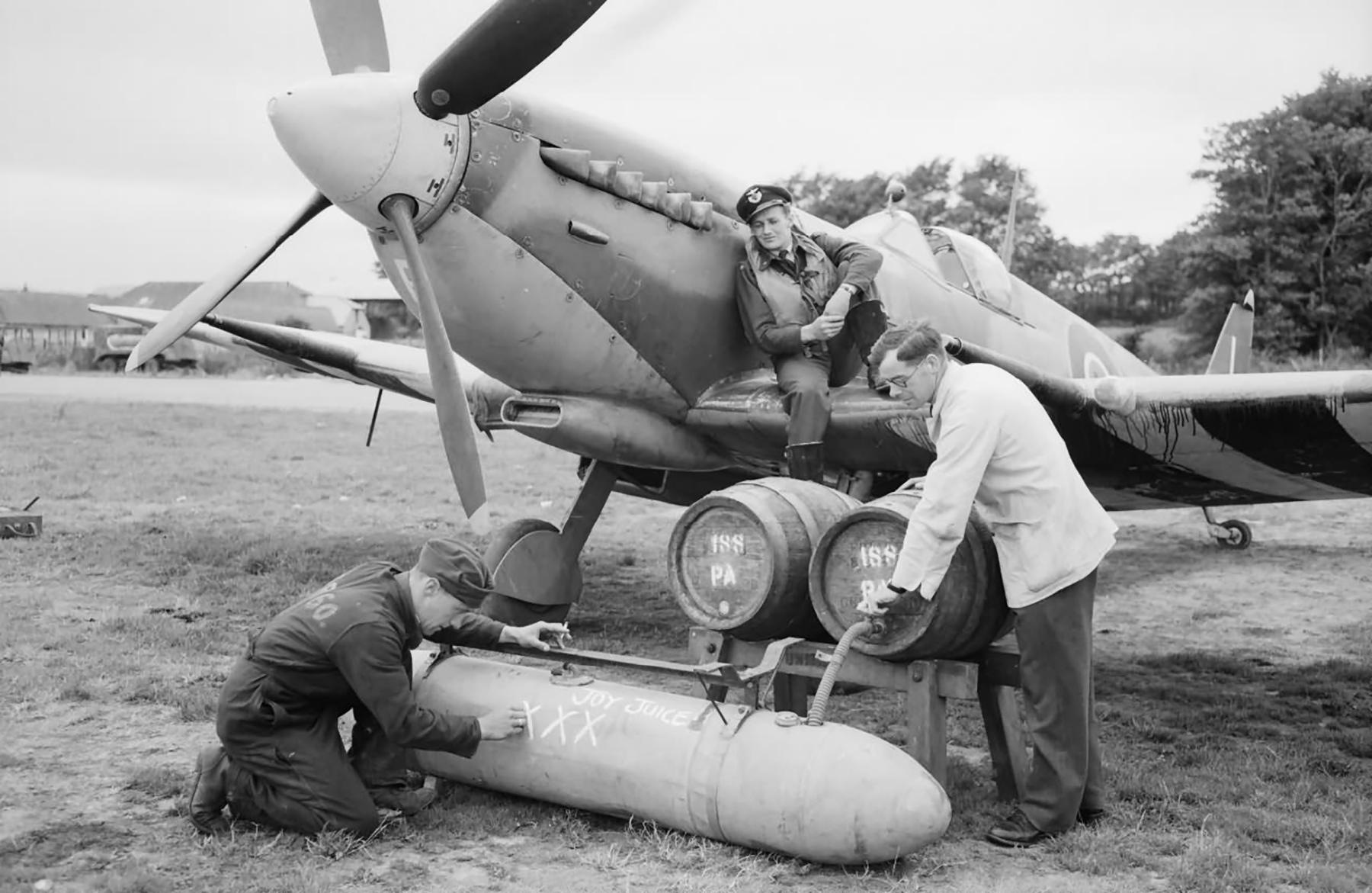 Spitfire external fuel tank filled with beer for Allied forces in Normandy 1944 01