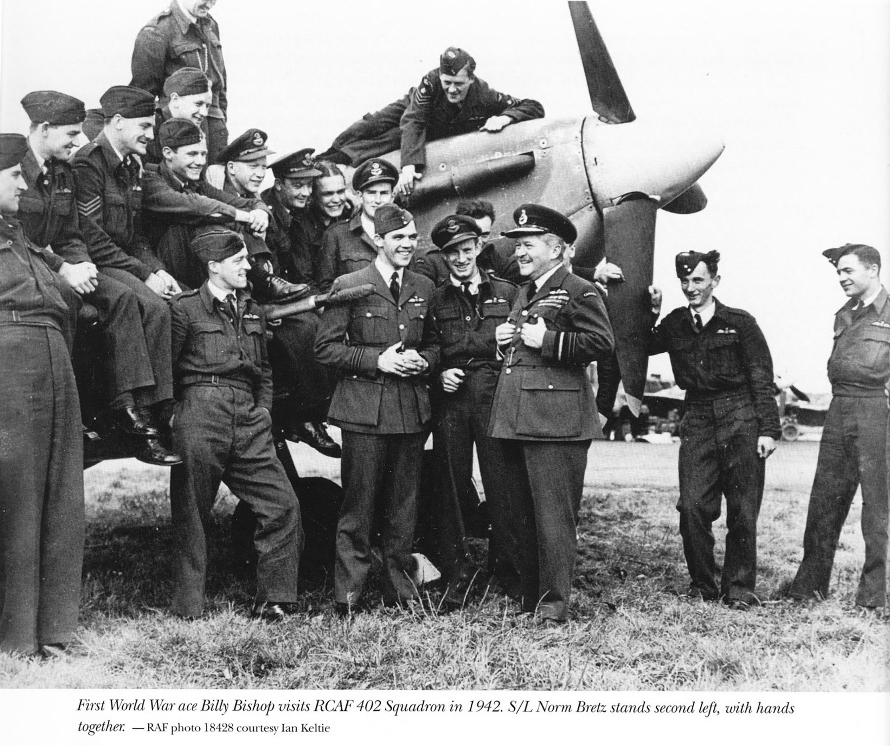 Aircrew RCAF 402Sqn SqnLdr Norm Bretz and pilots 1942 01