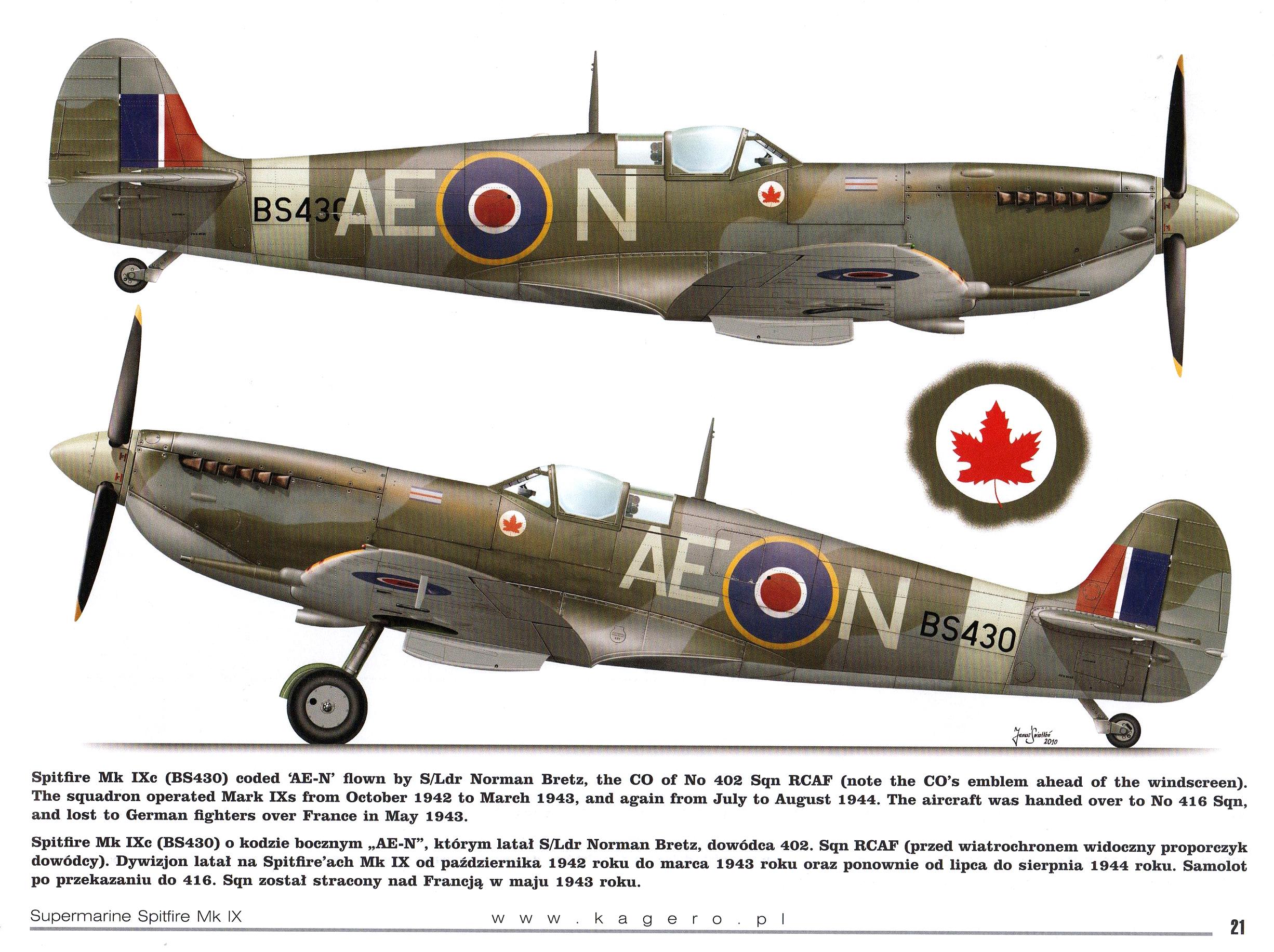 Spitfire MkIXc RCAF 402Sqn AEN SLdr Norman Bretz BS430 1942 TC15015 Supermarine Spitfire MkIX Page 21