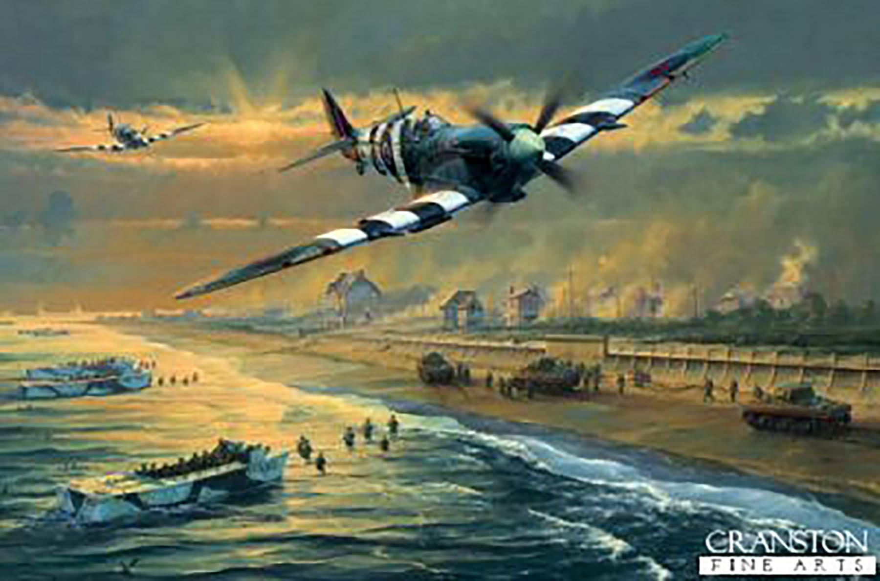 Art 412sqdn over Juno Beach D Day June 1944 by Cranston Fine Arts 0A