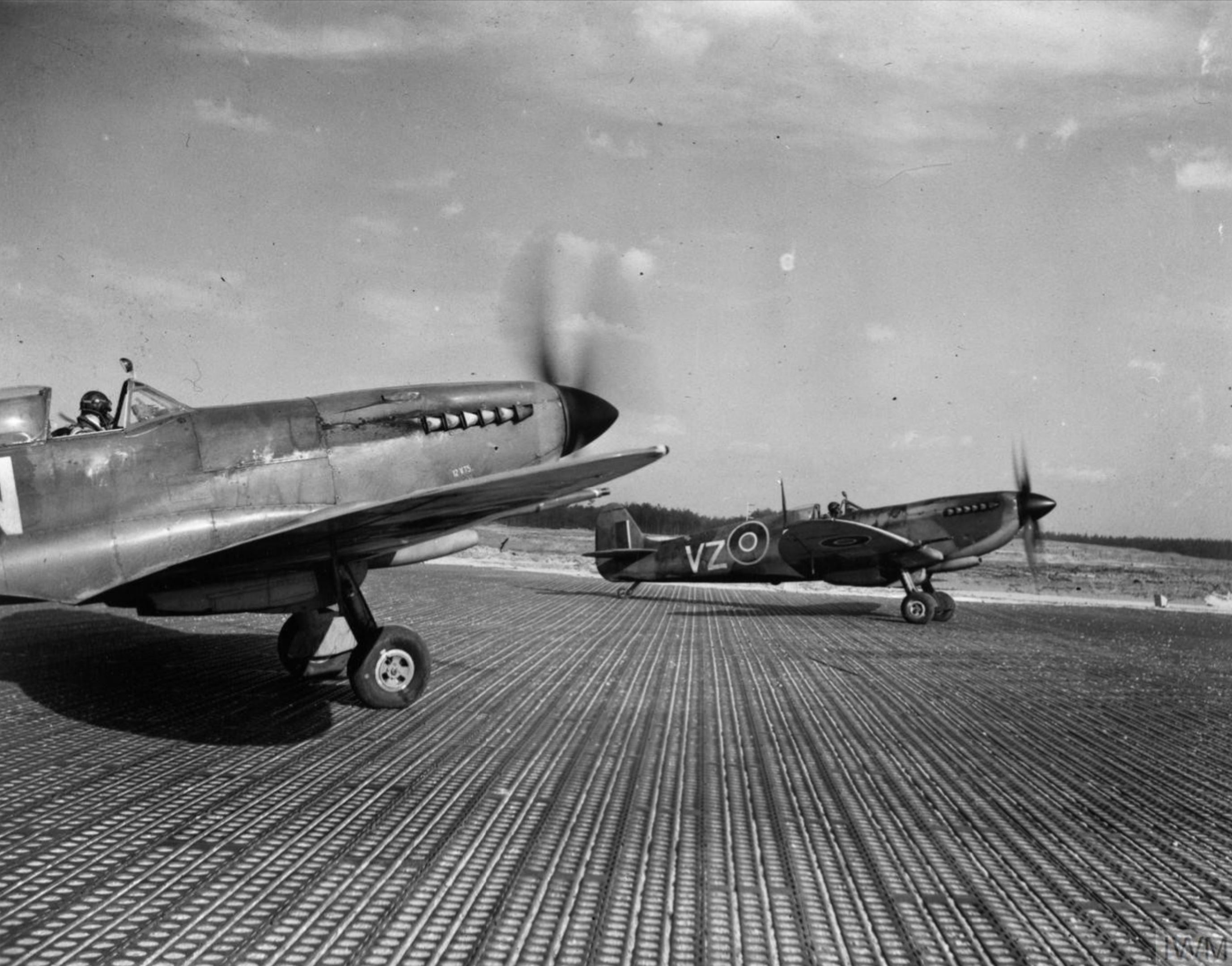 Spitfire MkIXe RCAF 412Sqn VZW taxing at B108 Rheine Germany 1945 IWM MH6850