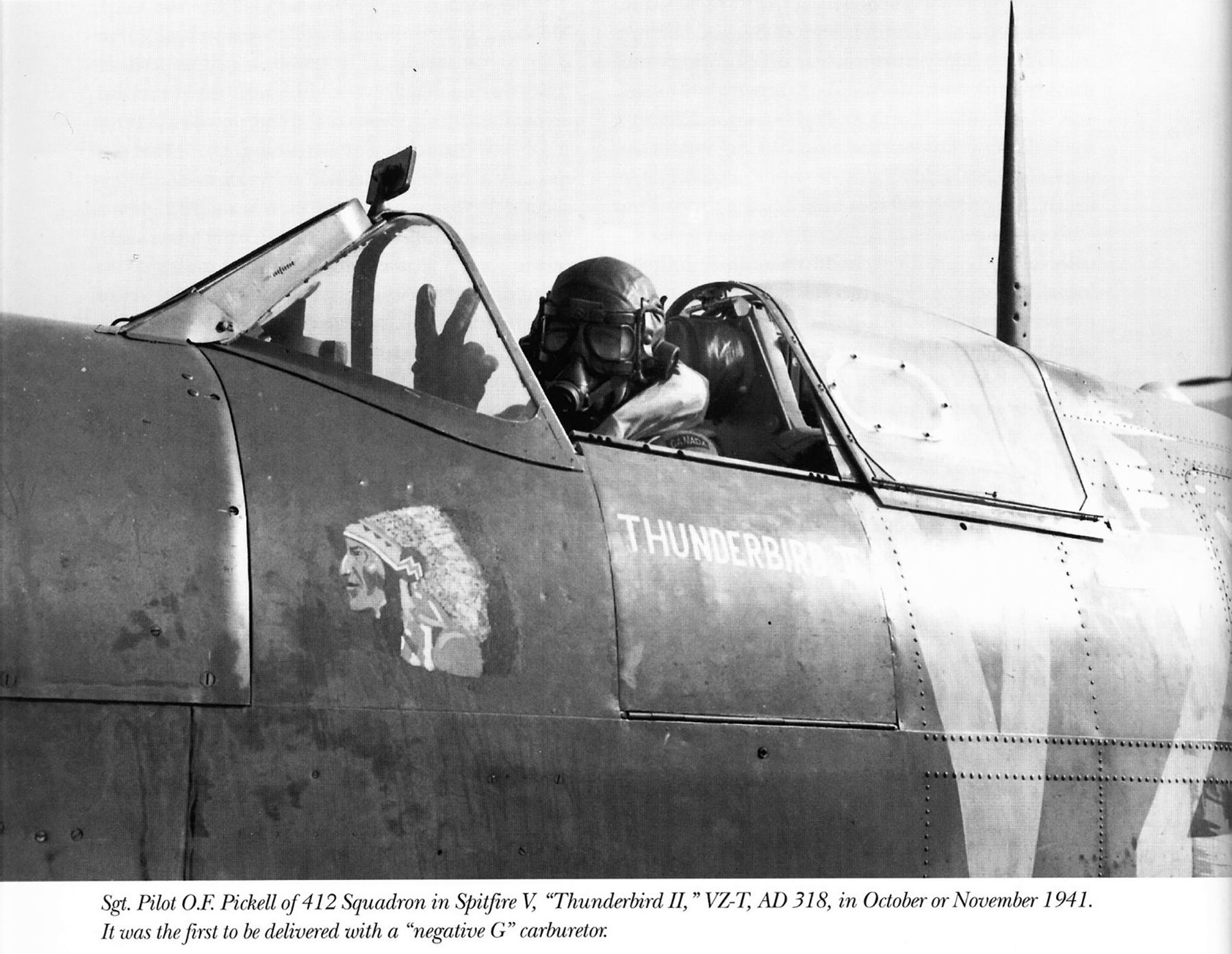 Spitfire MkVb RCAF 412Sqn VZT OF Pickell AD318 Nov 1941 01