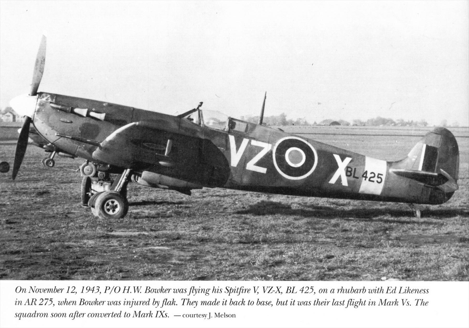 Spitfire MkVb RCAF 412Sqn VZX HW Bowker BL425 Nov 1943 01