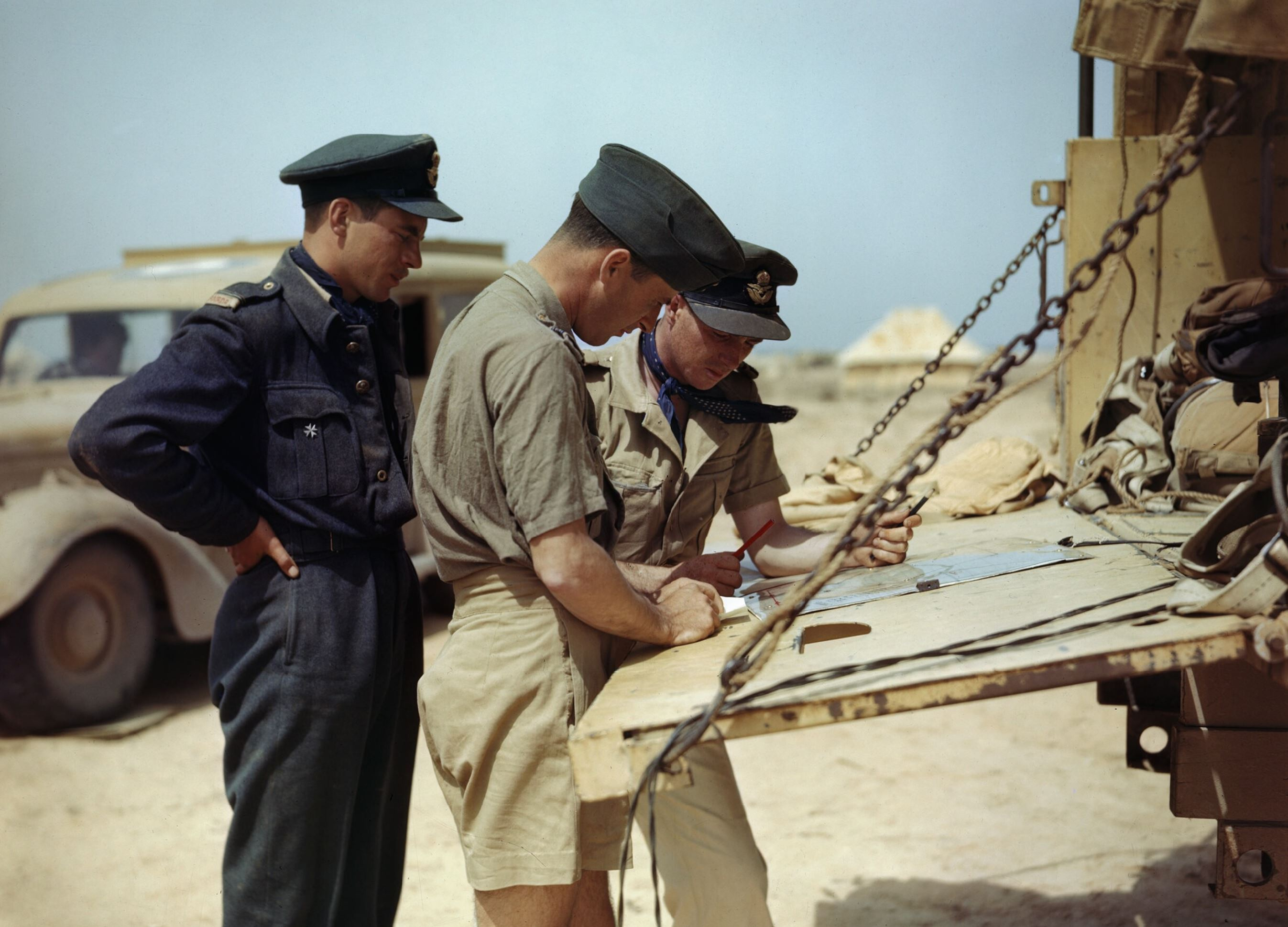 Aircrew RCAF 417Sqn pilots planning another mission Goubrine airfield Tunisia April 1943 IWM TR829