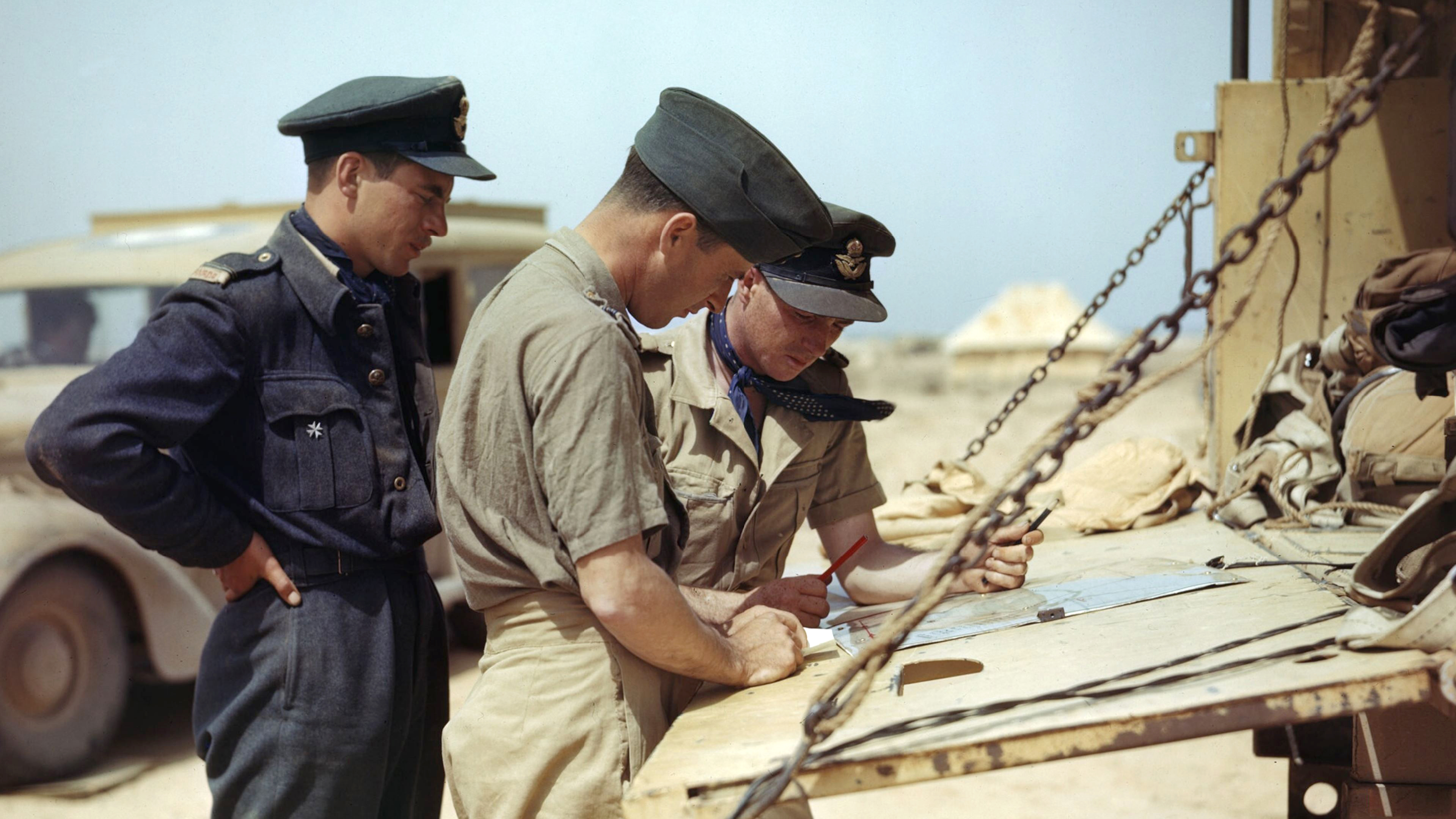 Aircrew RCAF 417Sqn pilots planning another mission Goubrine airfield Tunisia April 1943 IWM TR829a