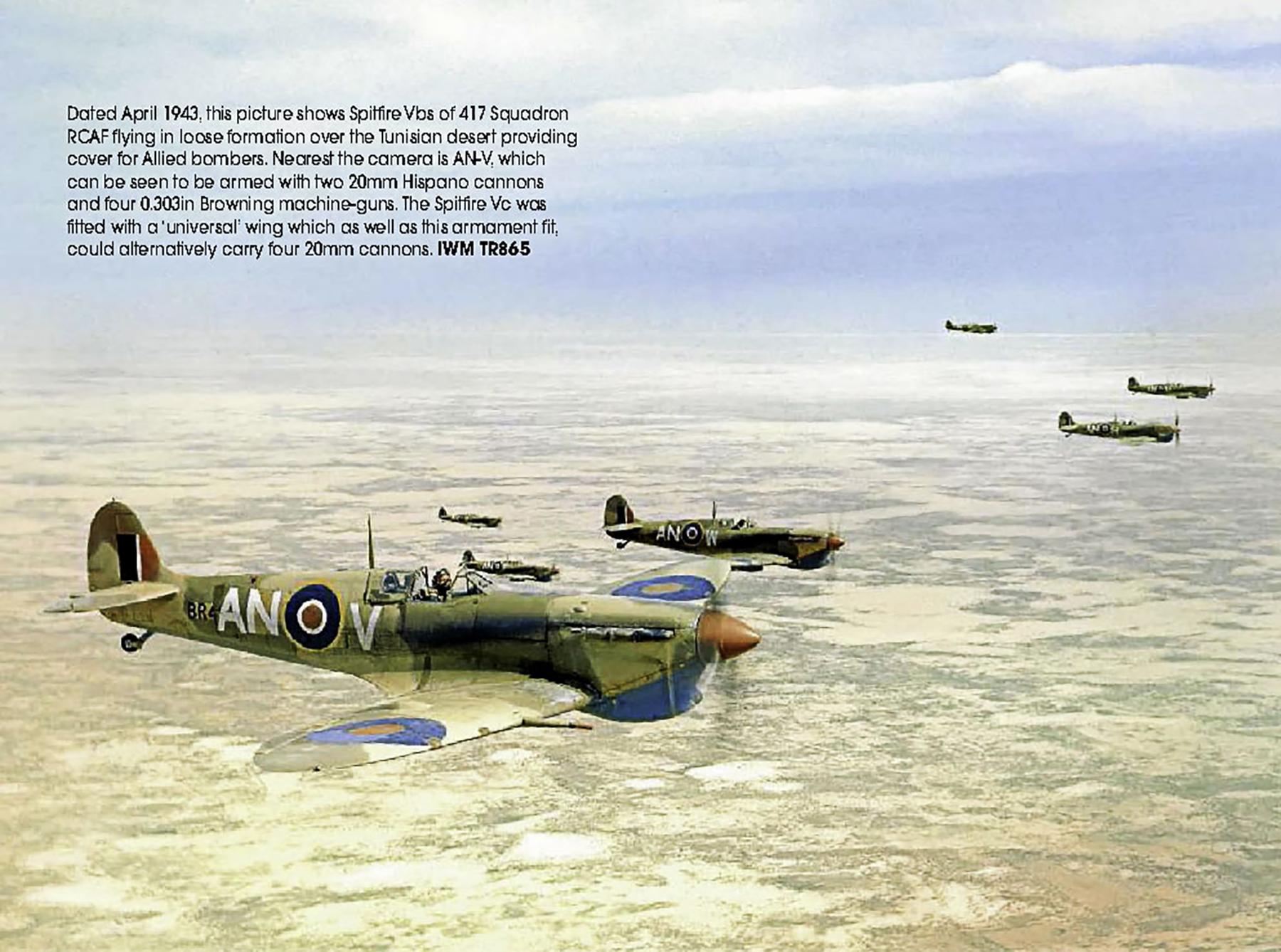 Spitfire MkVb RCAF 417Sqn ANV BR41x over the Tunisian desert 1943 02