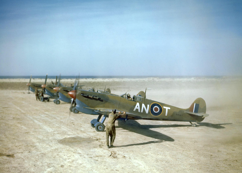 Spitfire MkVbTrop RCAF 417Sqn ANT BR195 at Goubrine Tunisia Apr 1943 IWM TR823